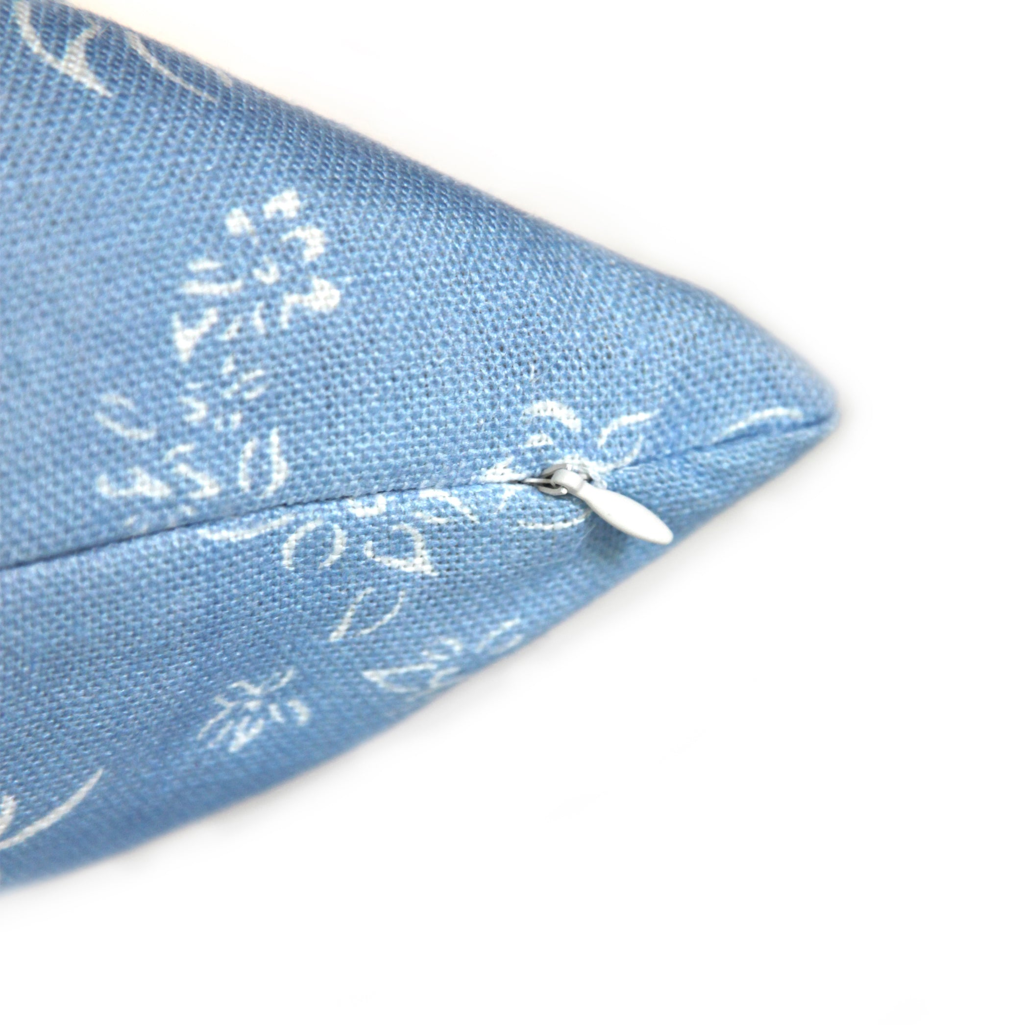 Heavy Linen Falling Flower Cushion in Full Field Pale Blue, 50cm x 50cm