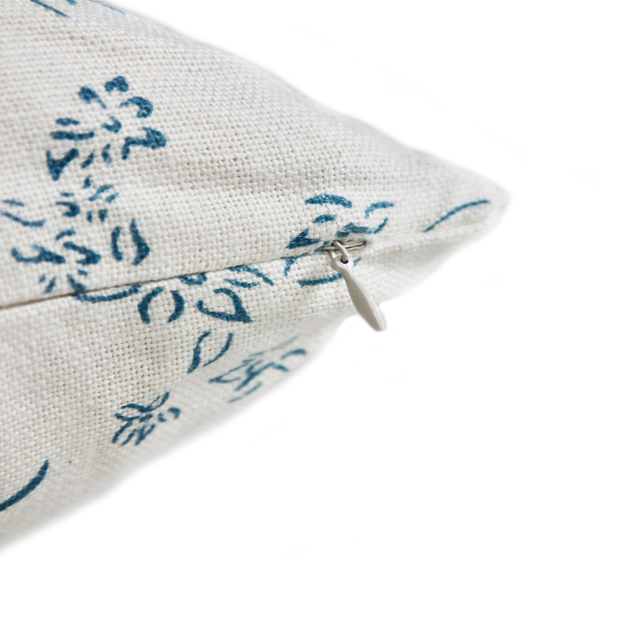 Heavy Linen Falling Flower Cushion in Blue on White, 50cm x 30cm