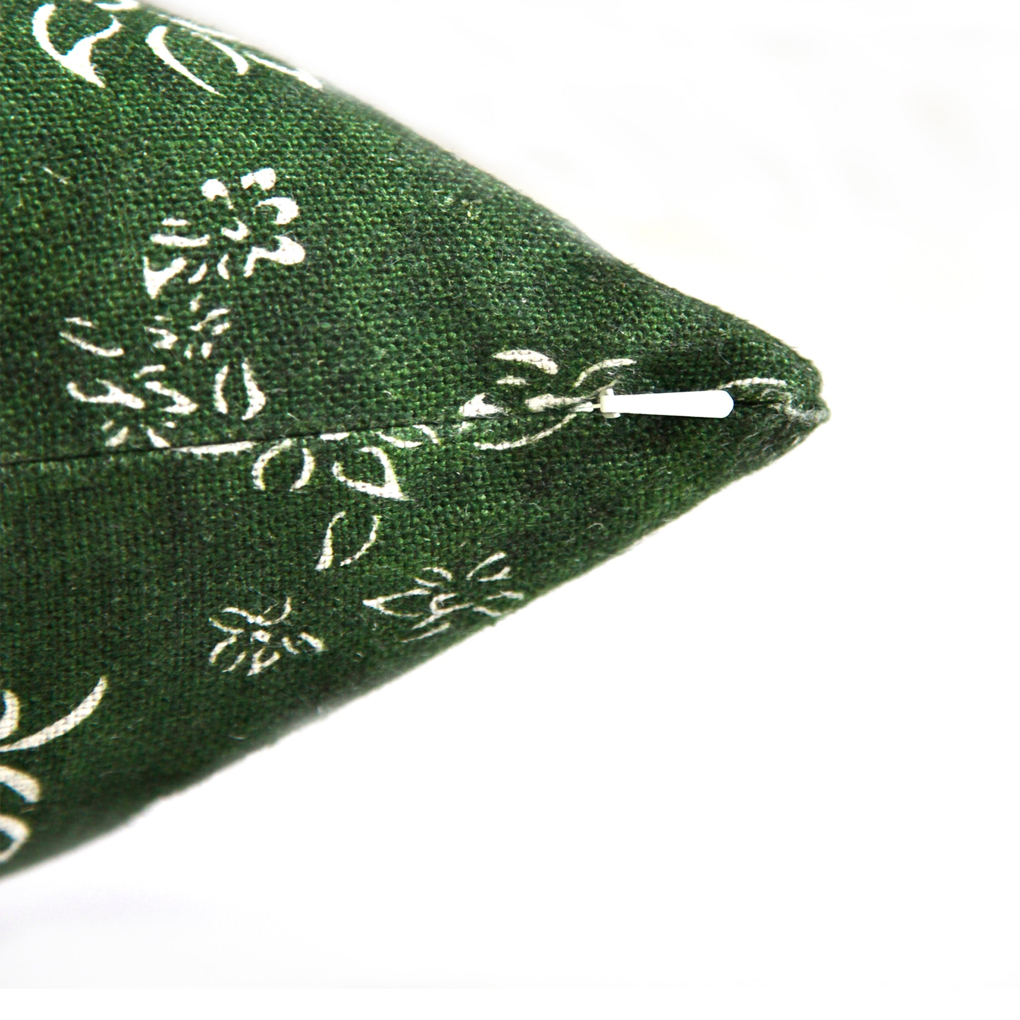 Heavy Linen Falling Flower Cushion in Full Field Green, 50cm x 30cm