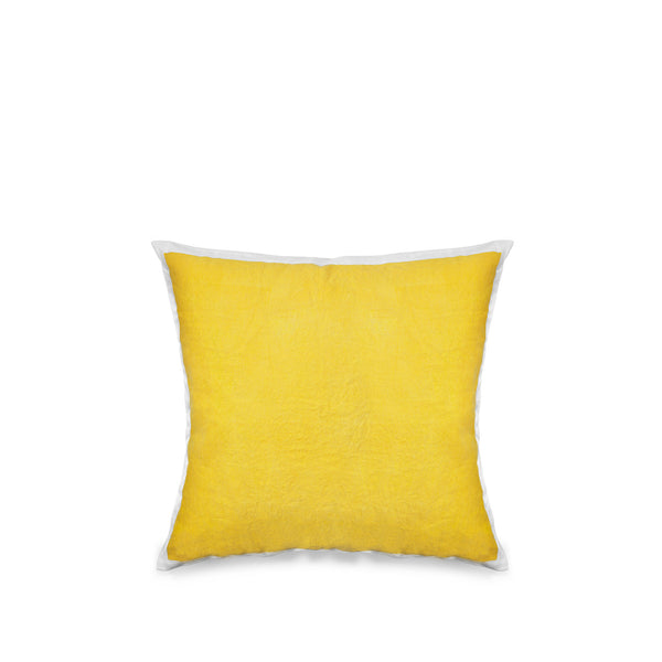Hand Painted Linen Cushion Cover in Lemon Yellow, 50cm x 50cm