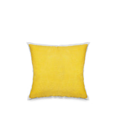 Hand Painted Linen Cushion in Lemon Yellow, 50cm x 50cm