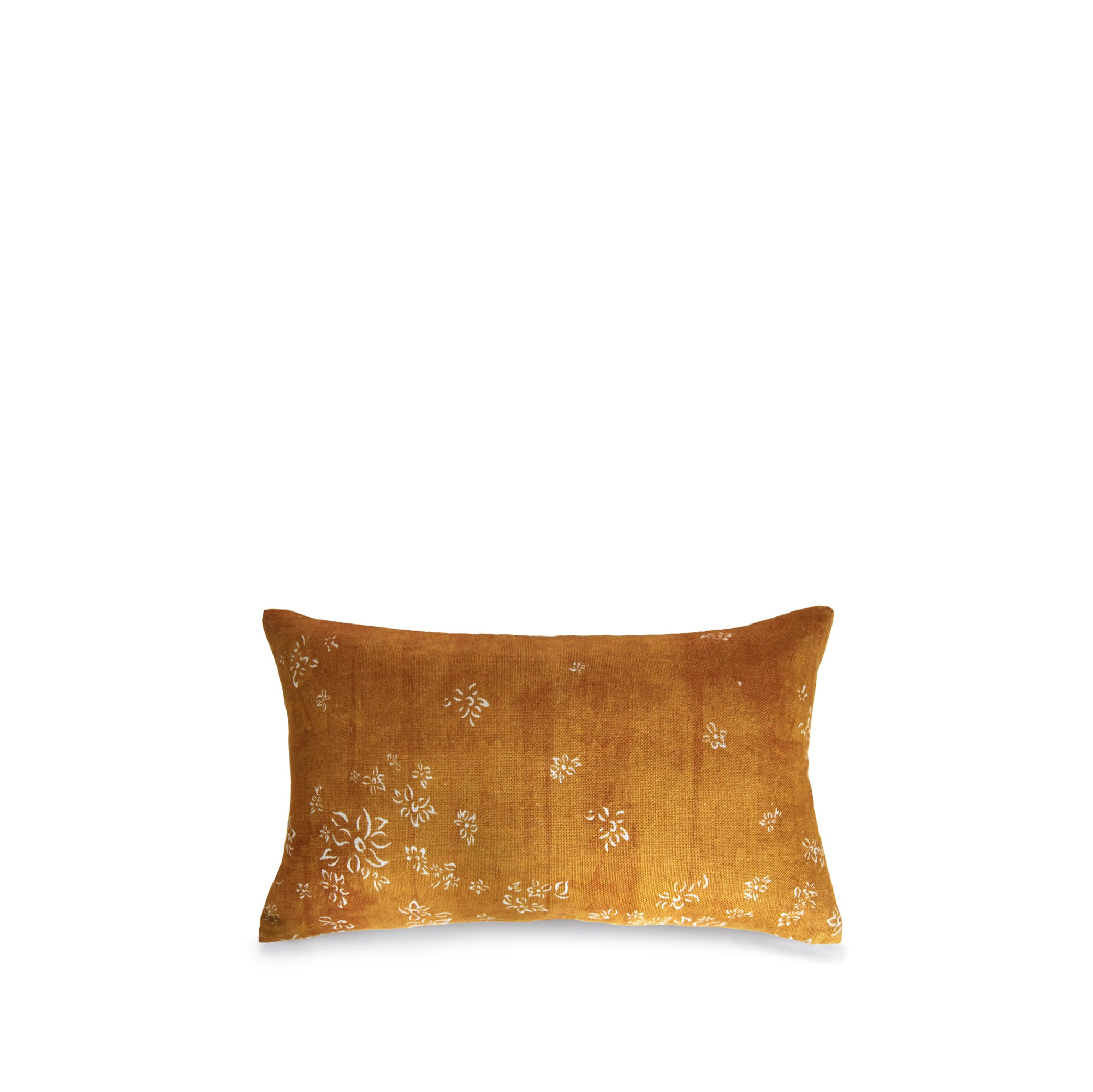 Heavy Linen Falling Flower Cushion in Full Field Mustard Yellow, 50cm x 30cm