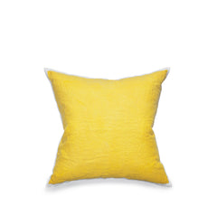 Hand Painted Linen Cushion in Lemon Yellow, 60cm x 60cm