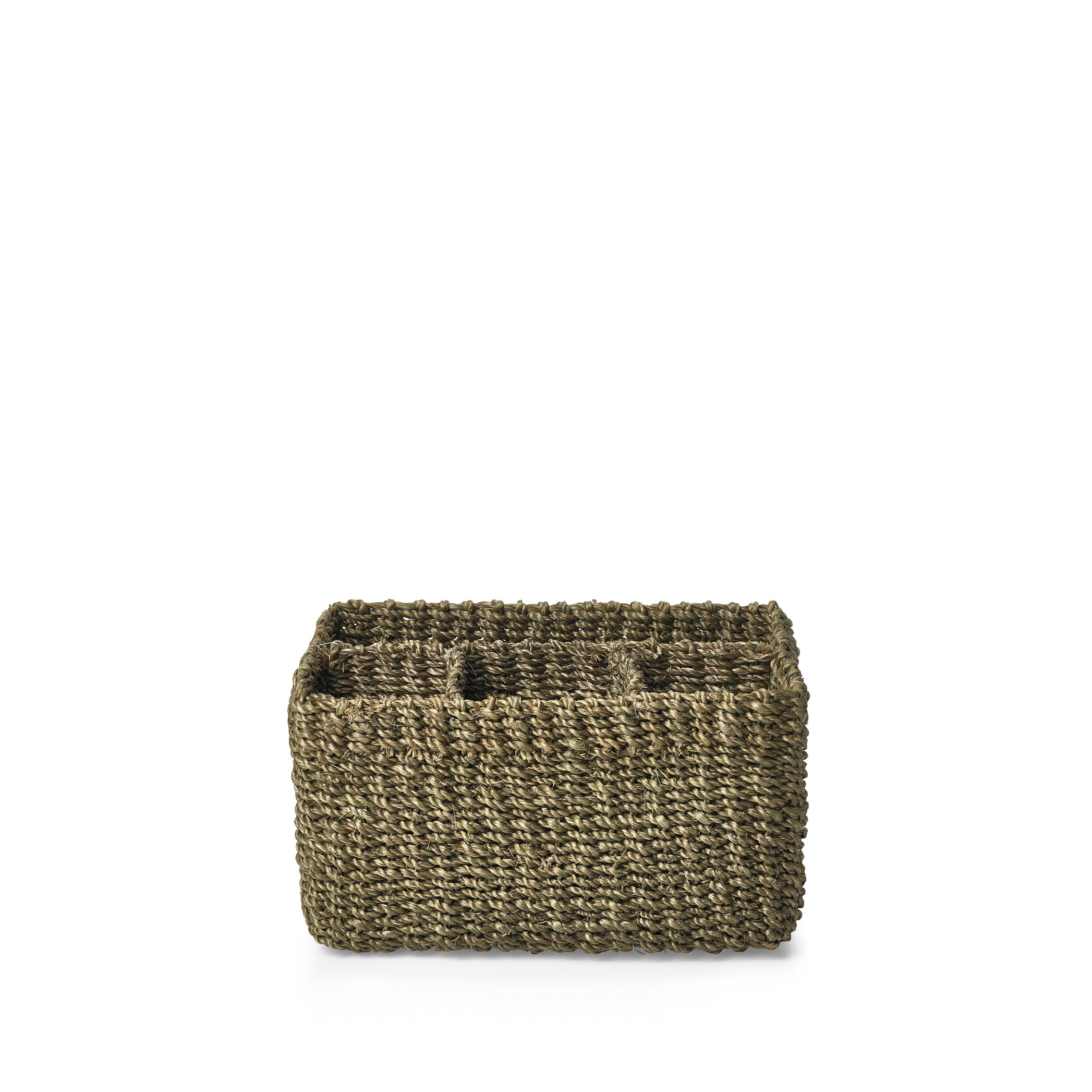 Abaca Woven Cutlery Basket in Sage