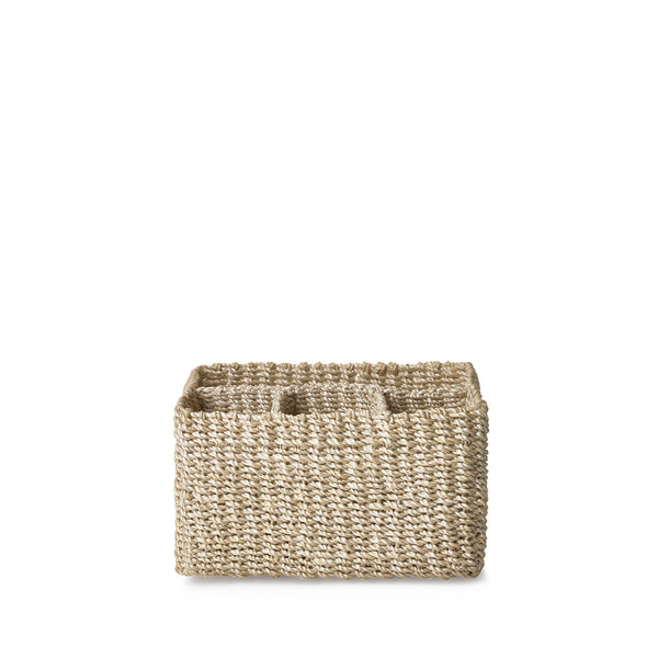 Abaca Woven Cutlery Basket in Cream