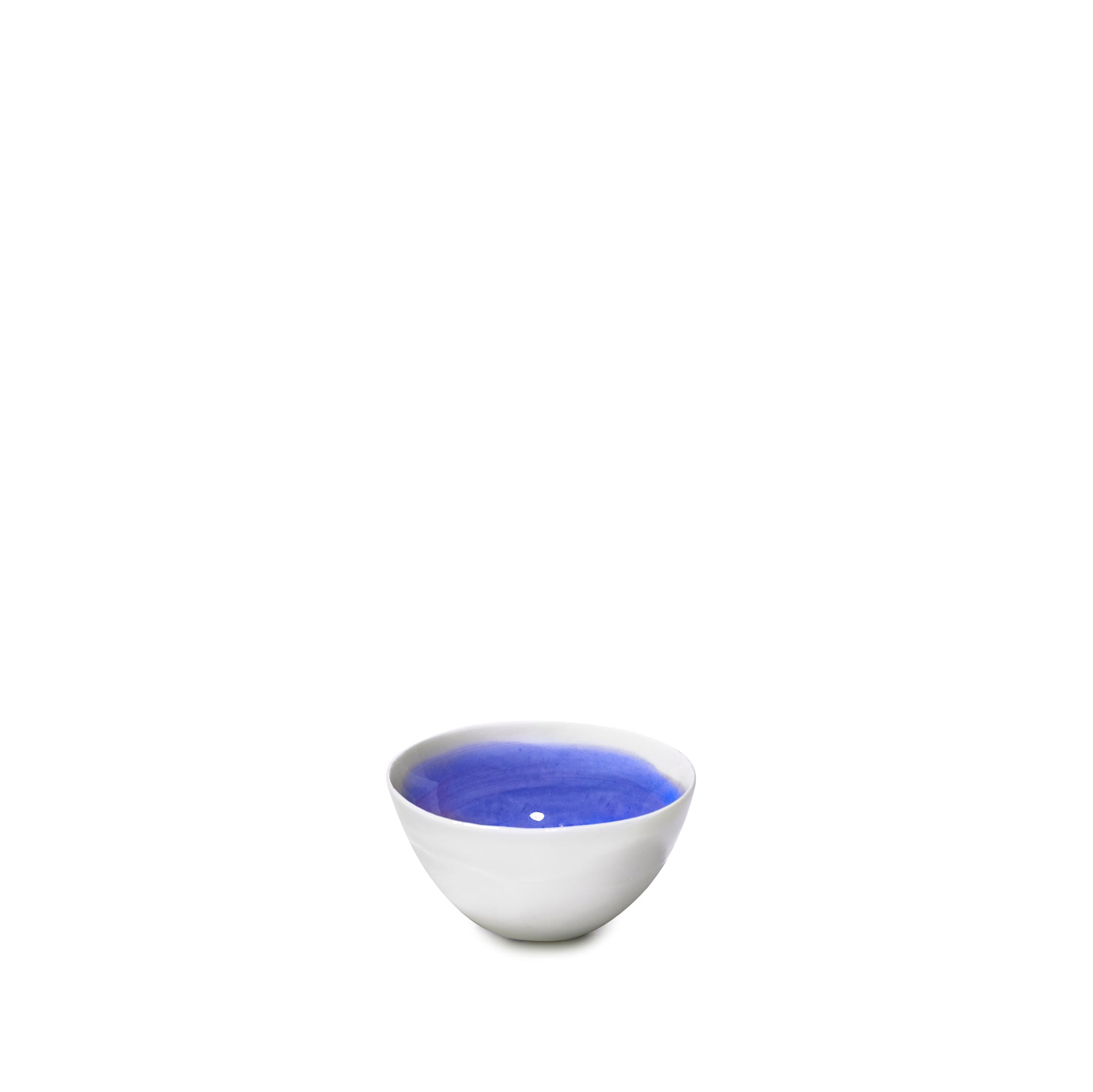 Small Dark Blue Ceramic Bowl with White Edge, 8cm