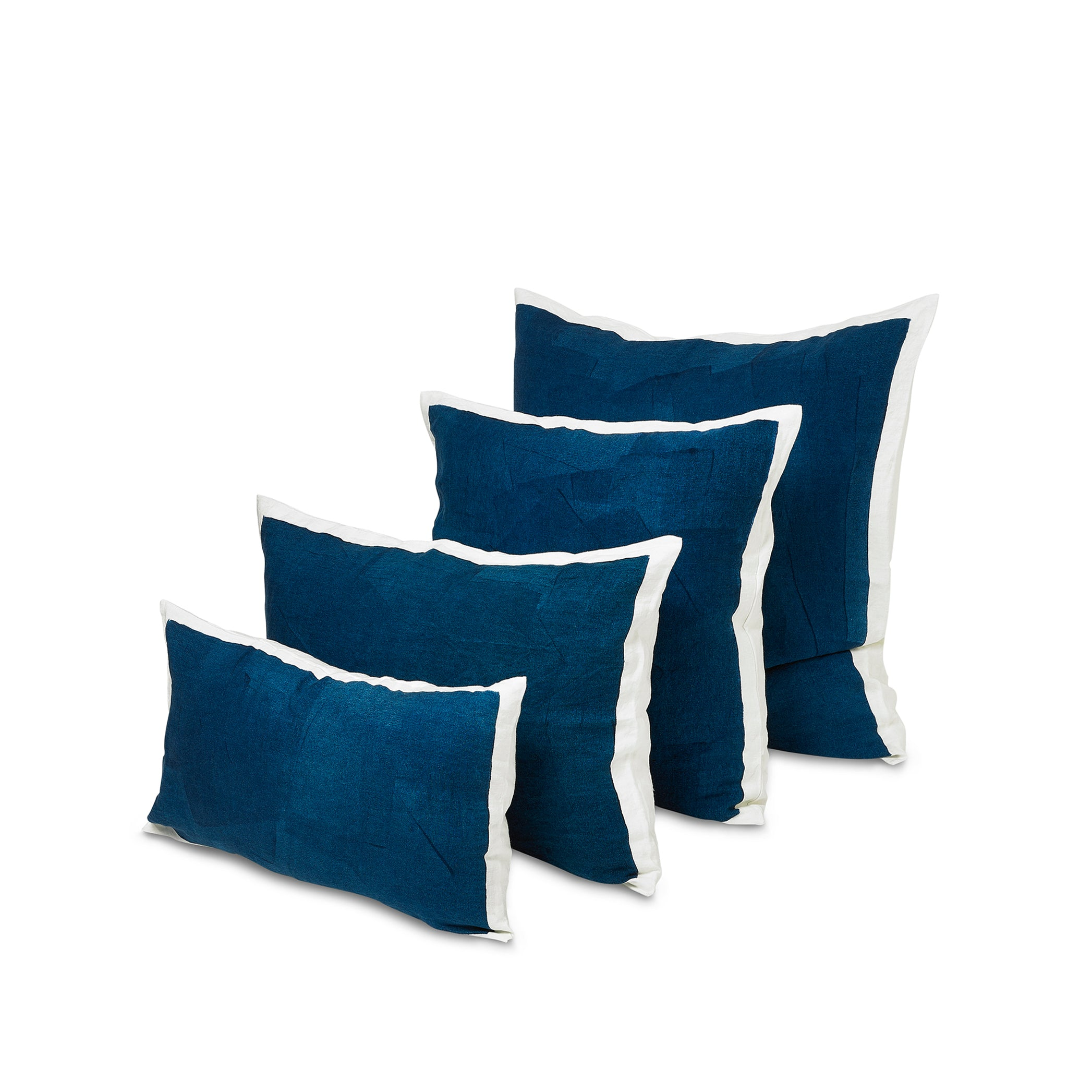 Hand Painted Linen Cushion in Midnight Blue, 60cm x 40cm