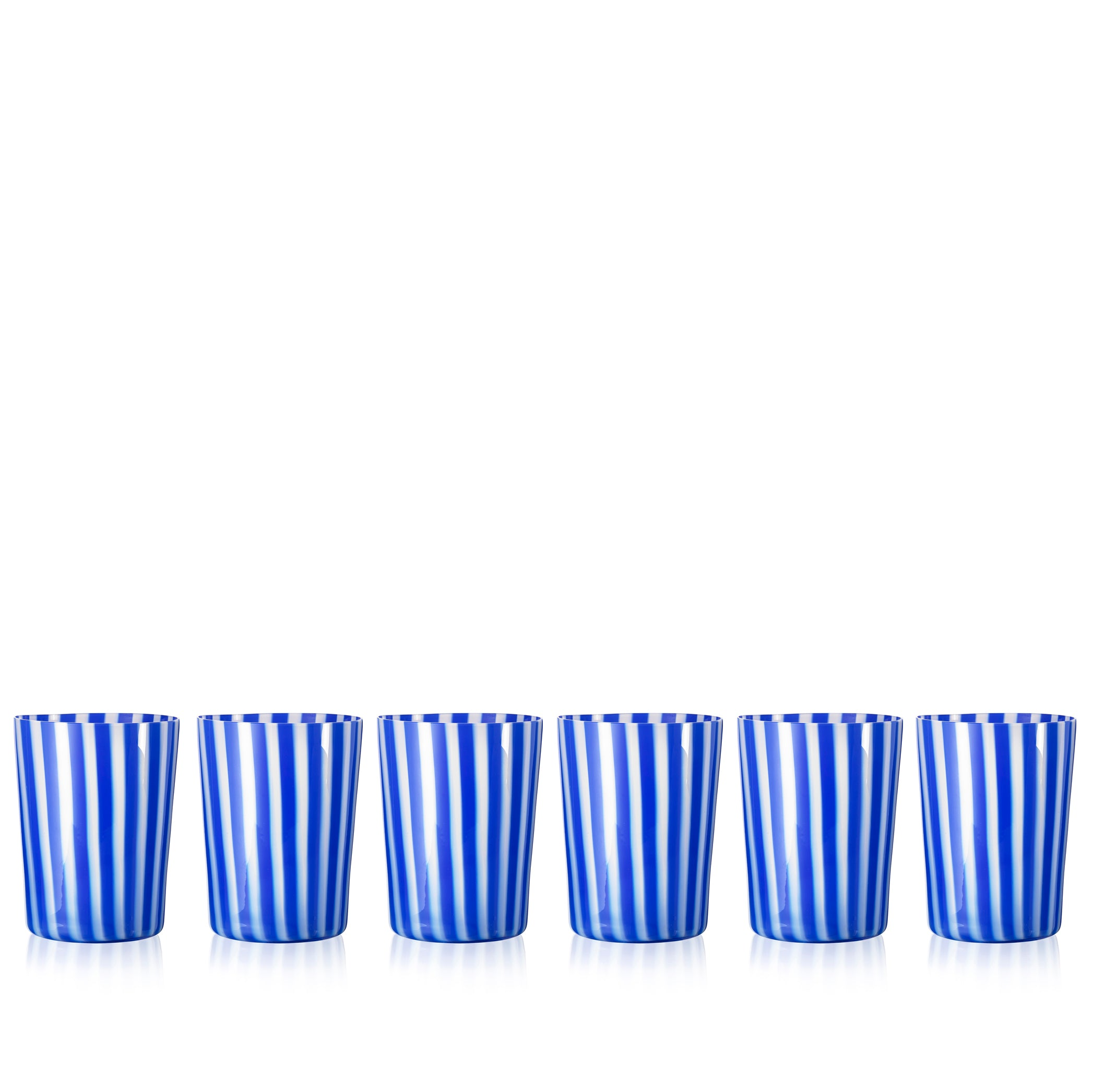 Set of Six Handblown 'Pastelli' Glass Tumblers, Designed by LPWK in Dark Blue and White Stripe