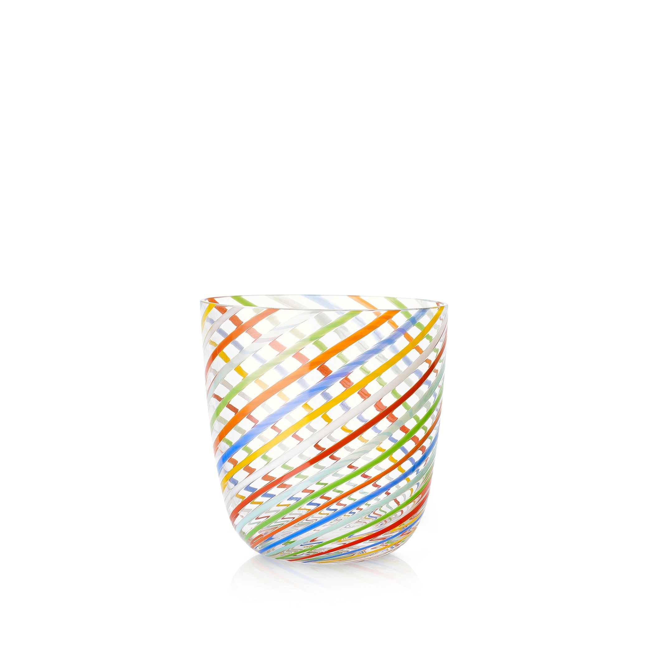 Set of Eight Handblown Diagonal Stripe Glass Tumblers in Multicolours