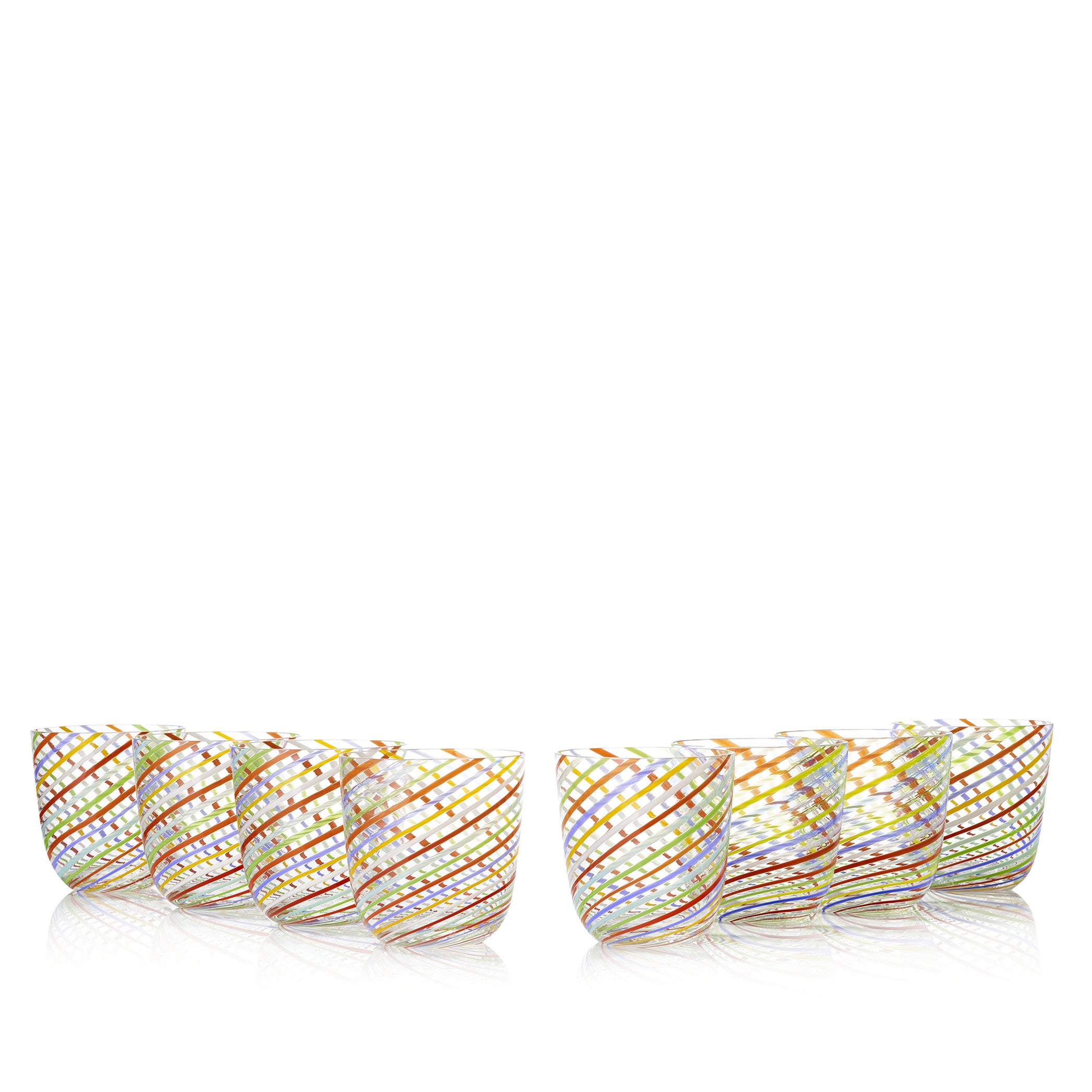 Set of Six Handblown Diagonal Stripe Glass Tumblers in Multicolours