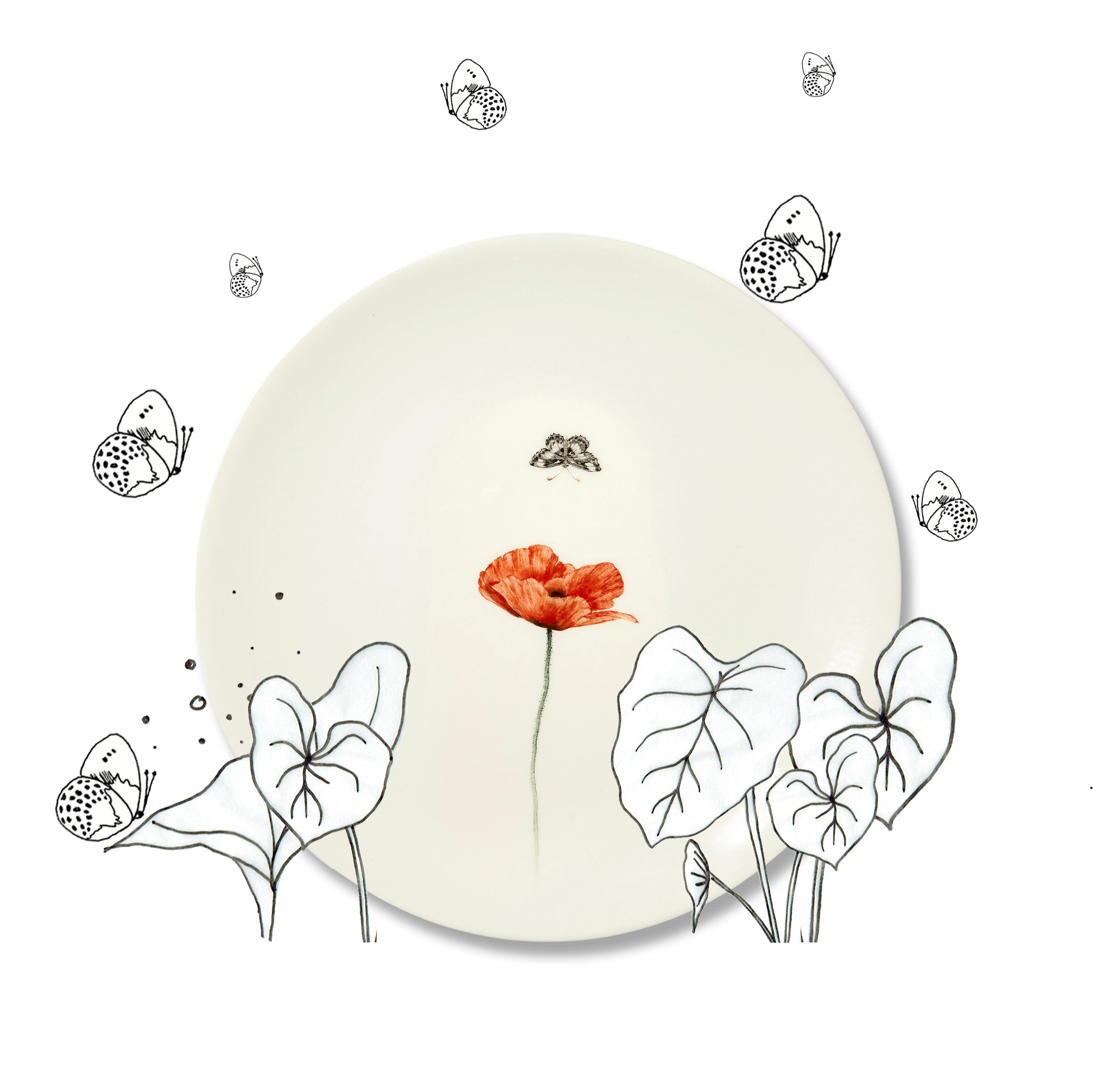 Bloom Poppy Dinner Plate, 25cm
