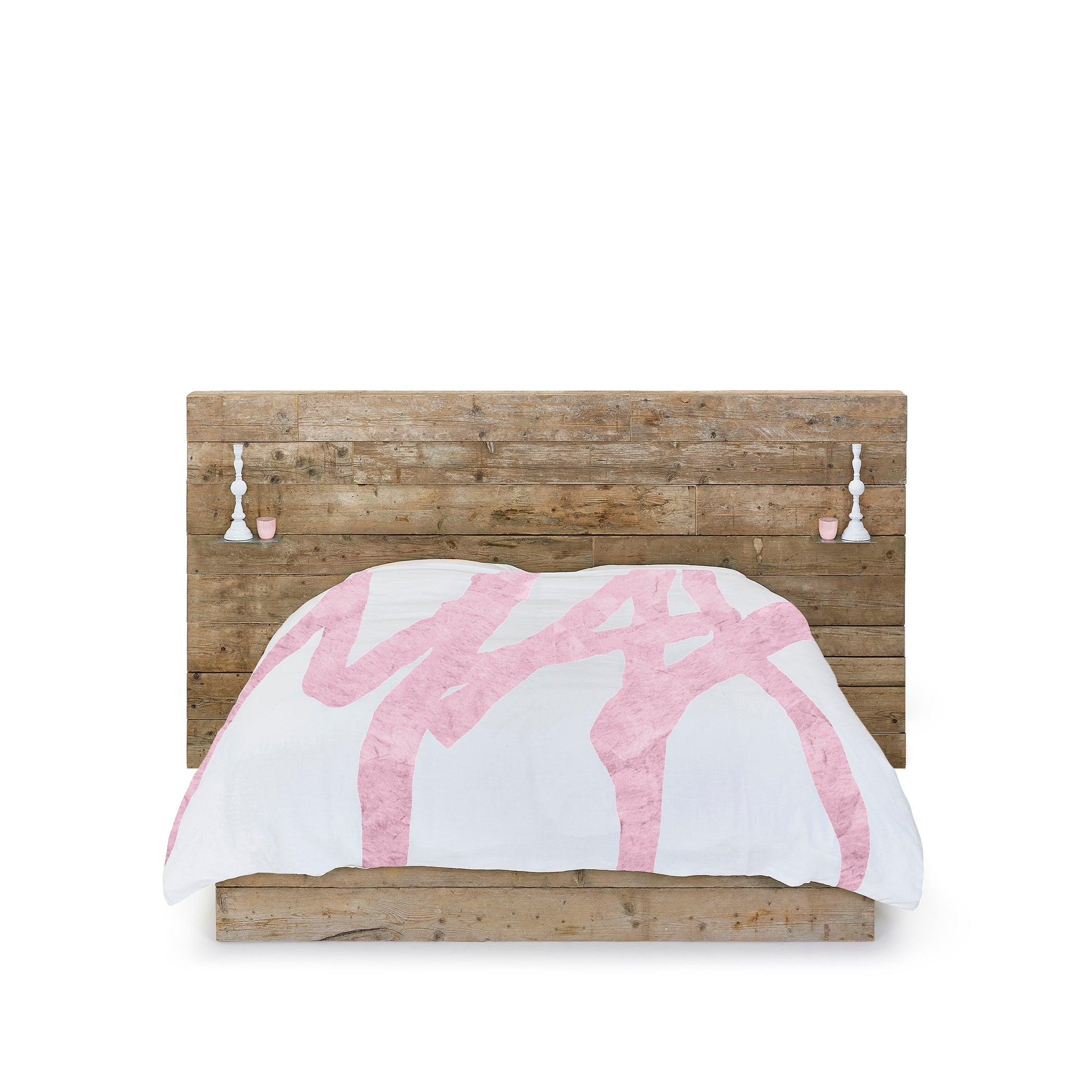 Bespoke Word Linen Duvet Cover in Rose Pink, Double