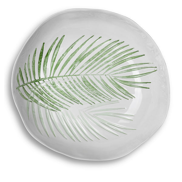 S&B Handmade 43cm Porcelain Extra Large Salad Bowl with Green Fern