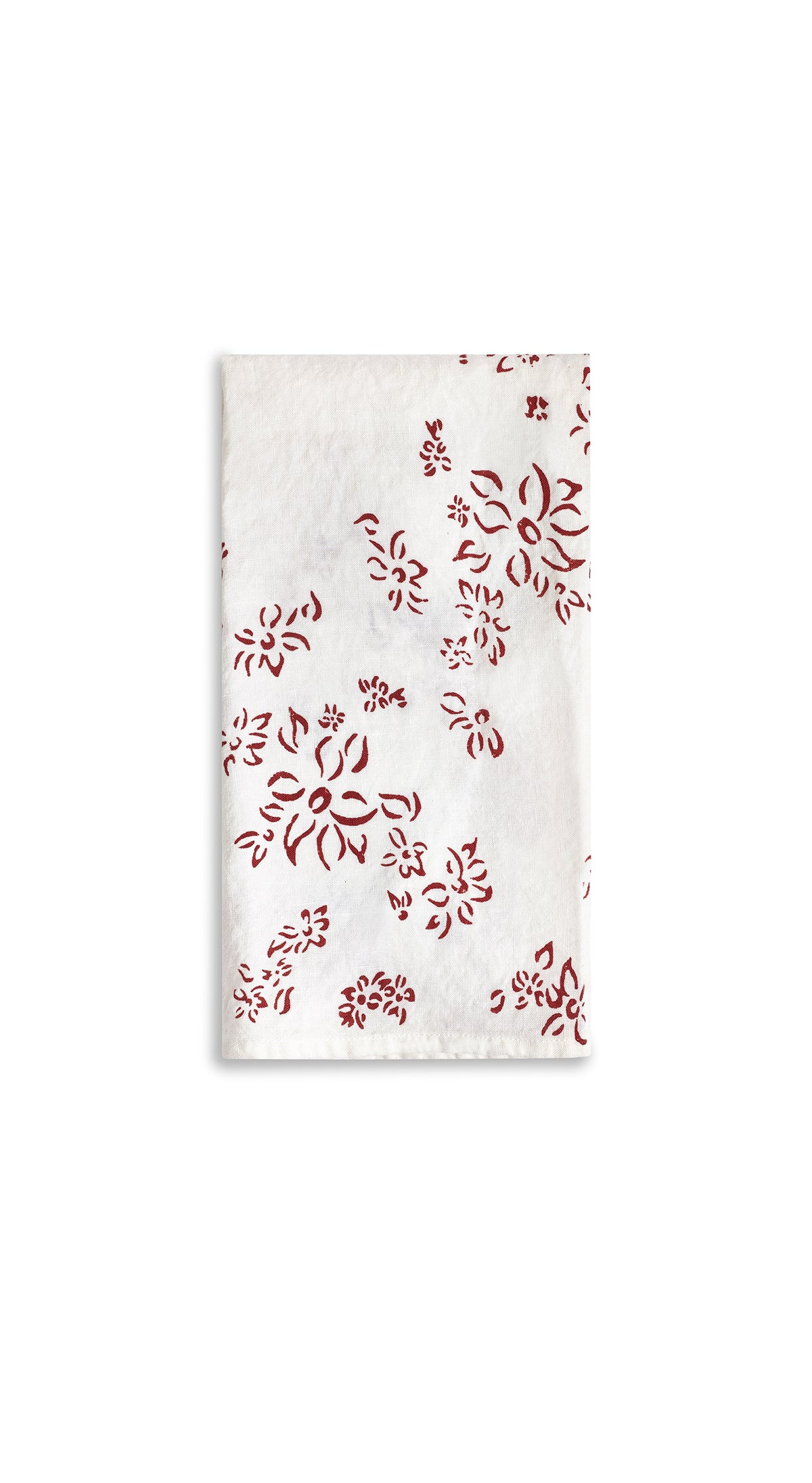 Bernadette's Hand Stamped Falling Flower Linen Tea Towel in Claret Red