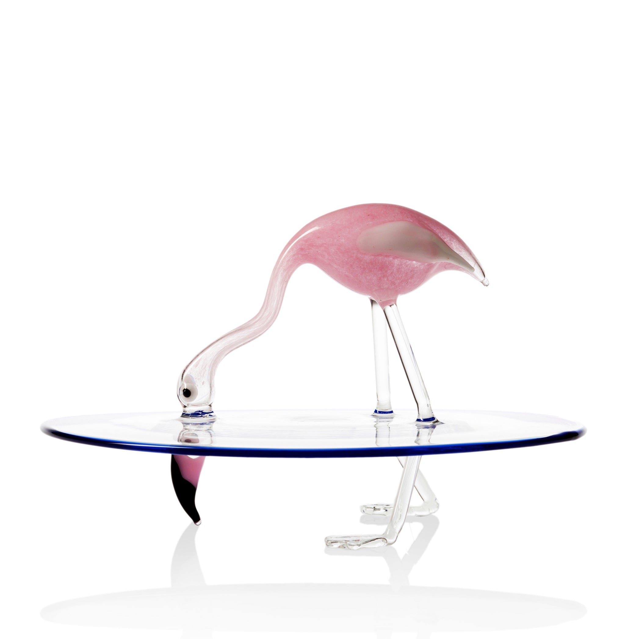 Handblown Glass Flamingo Cake Stand
