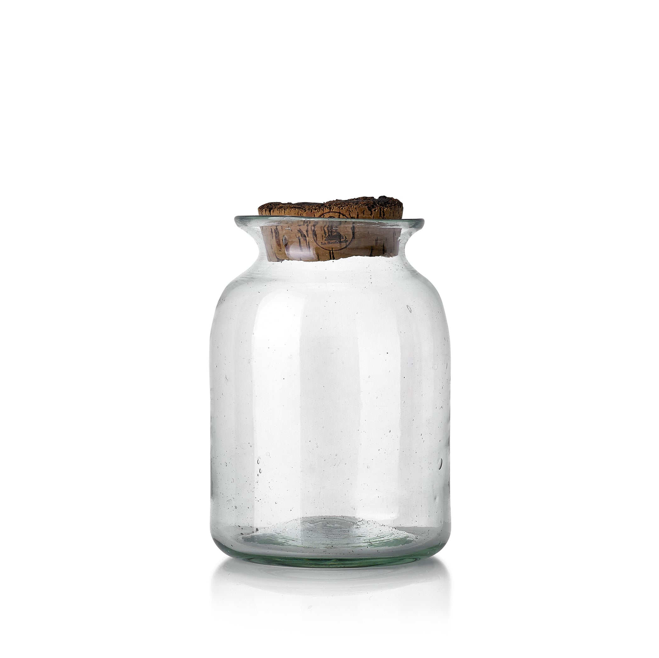 Handblown Glass Jar With Fluted Top And Cork Lid Summerill Bishop