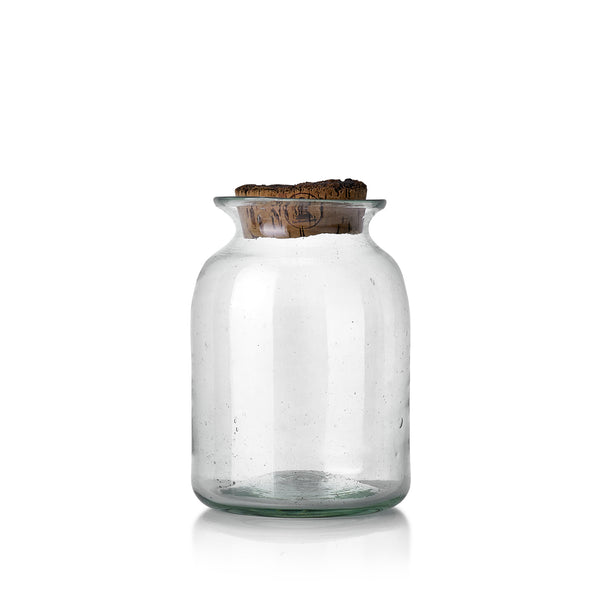 Handblown Glass Jar with Fluted Top and Cork Lid