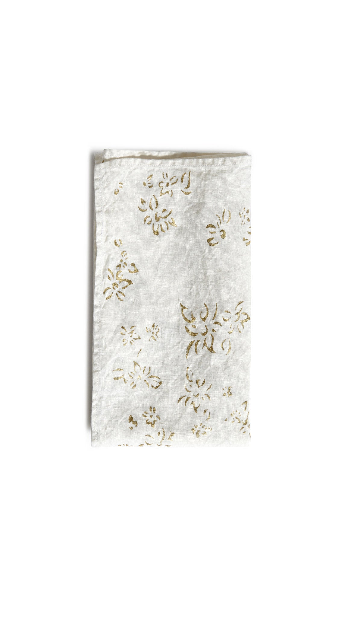 Bernadette's Falling Flower Linen Tea Towel in Gold