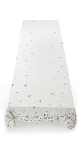 Bernadette's Falling Flower Linen Tablecloth in Forest Green