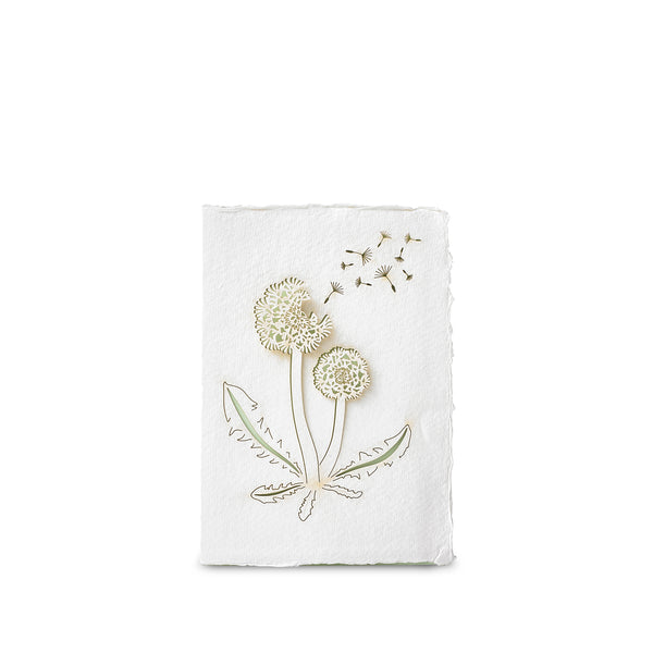 Handmade Paper Greeting Card with Dandelion
