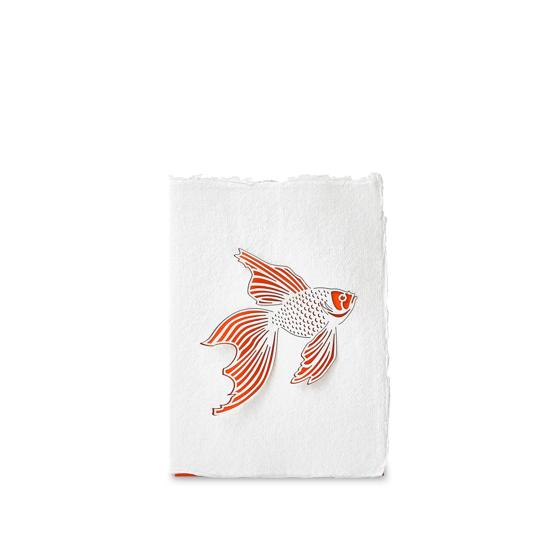 Handmade Paper Greeting Card with Fish