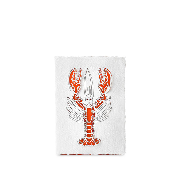 Handmade Paper Greeting Card with Lobster