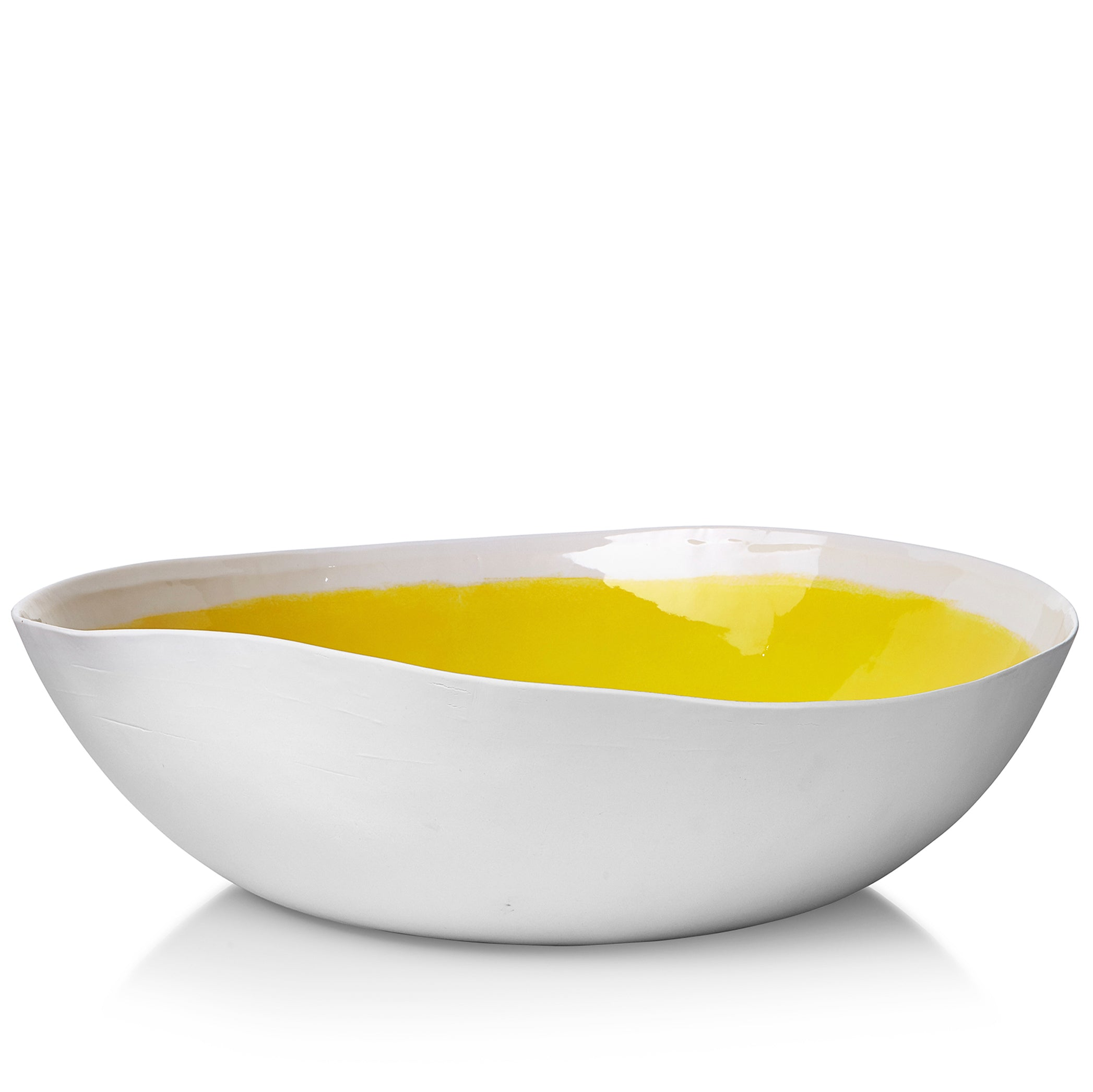 S&B Handmade 43cm Porcelain Extra Large Salad Bowl with Yellow Glaze