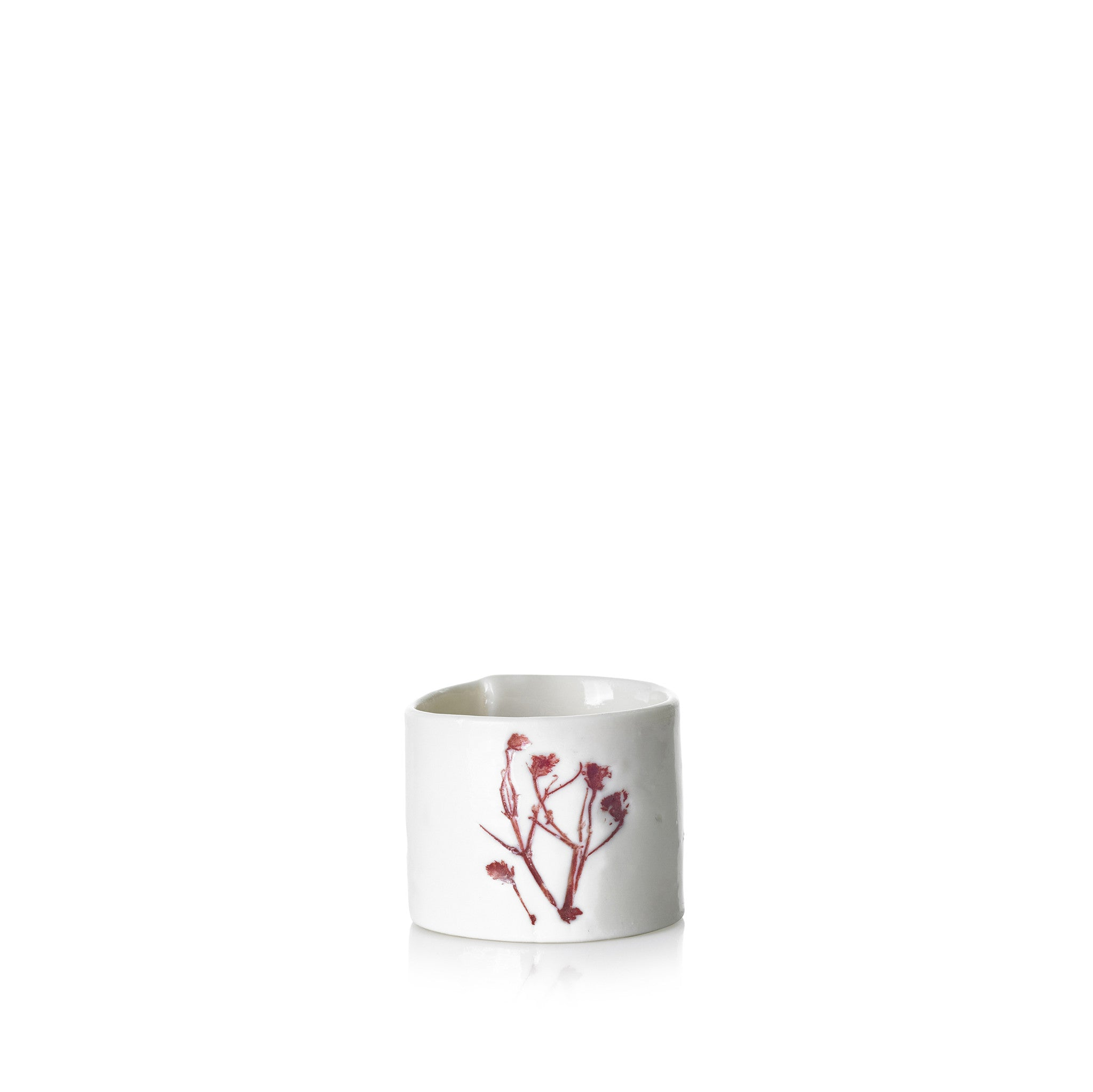 Embossed Porcelain Napkin Ring in Red