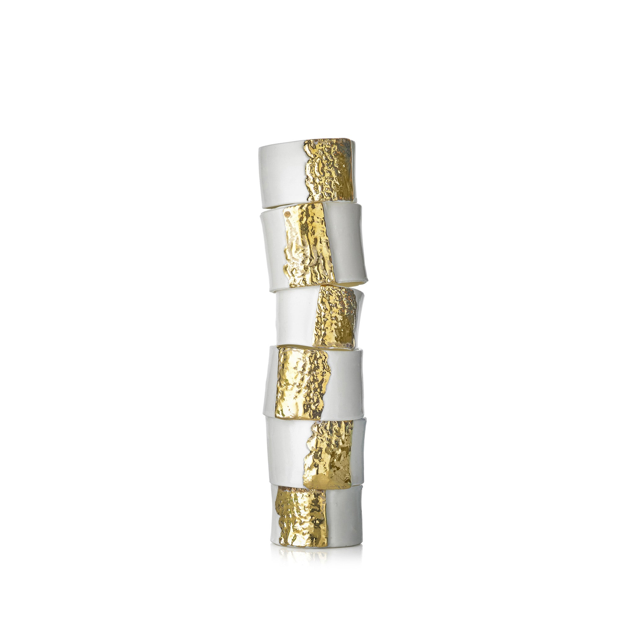 Embossed Porcelain Napkin Ring in Gold