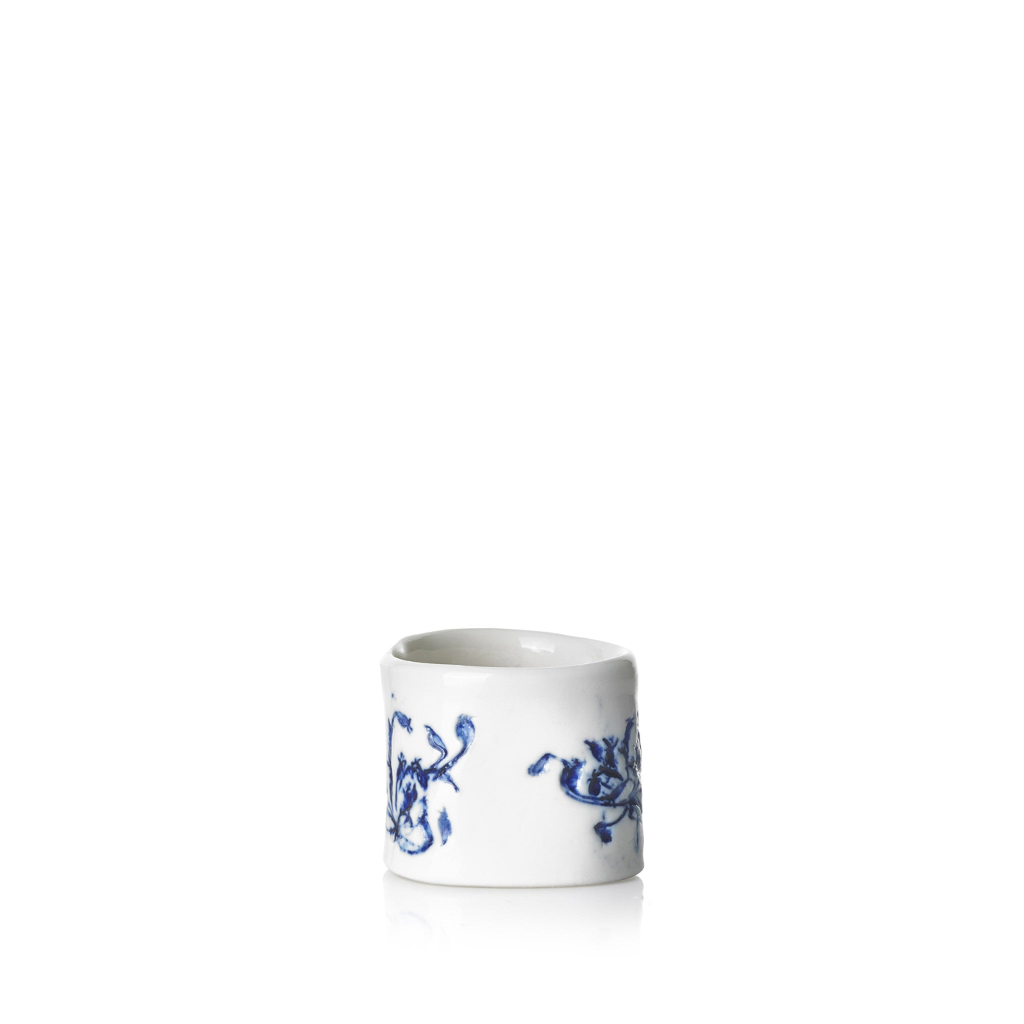 Embossed Porcelain Napkin Ring in Blue