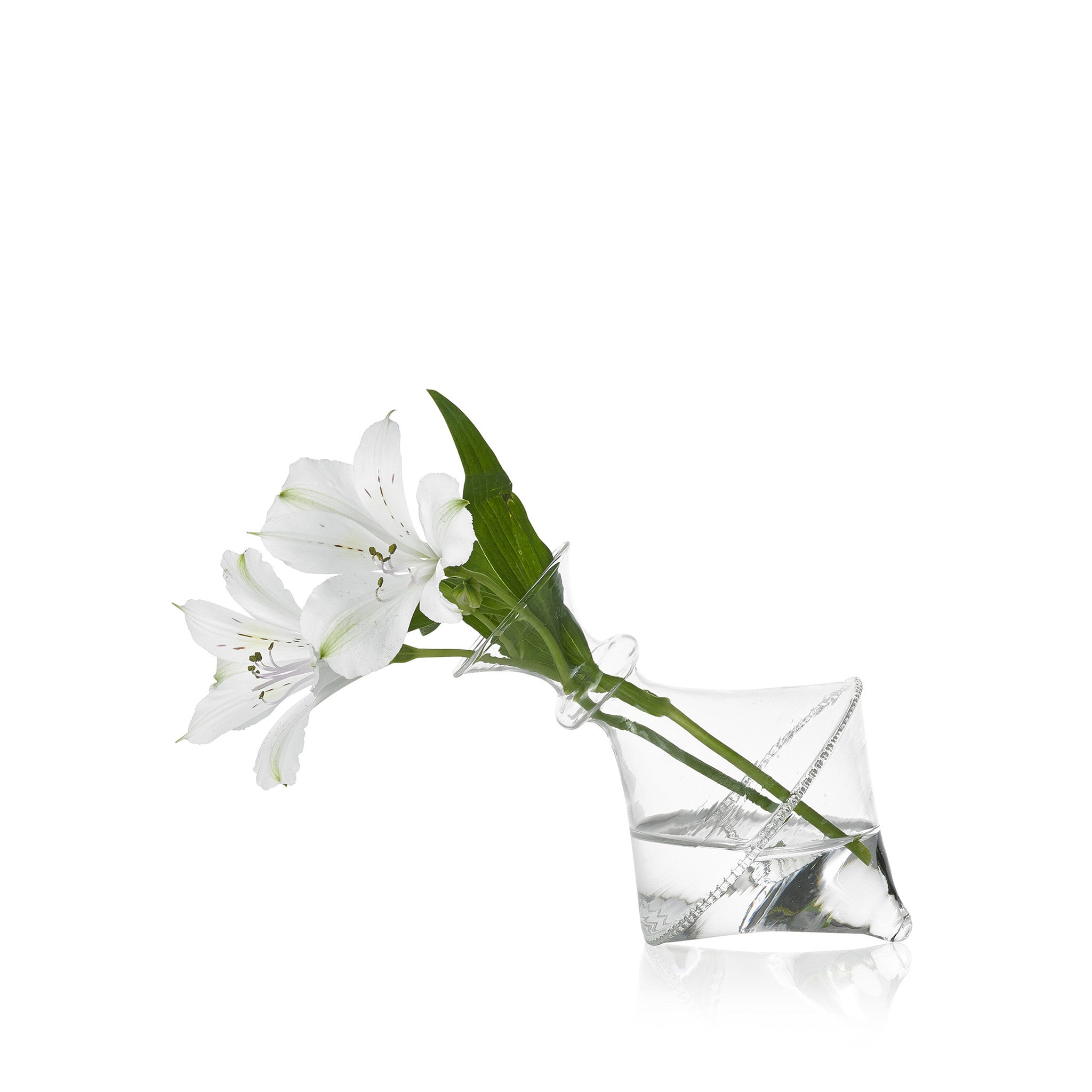 Set of Two Glass Flower Vases Without Foot - Cara