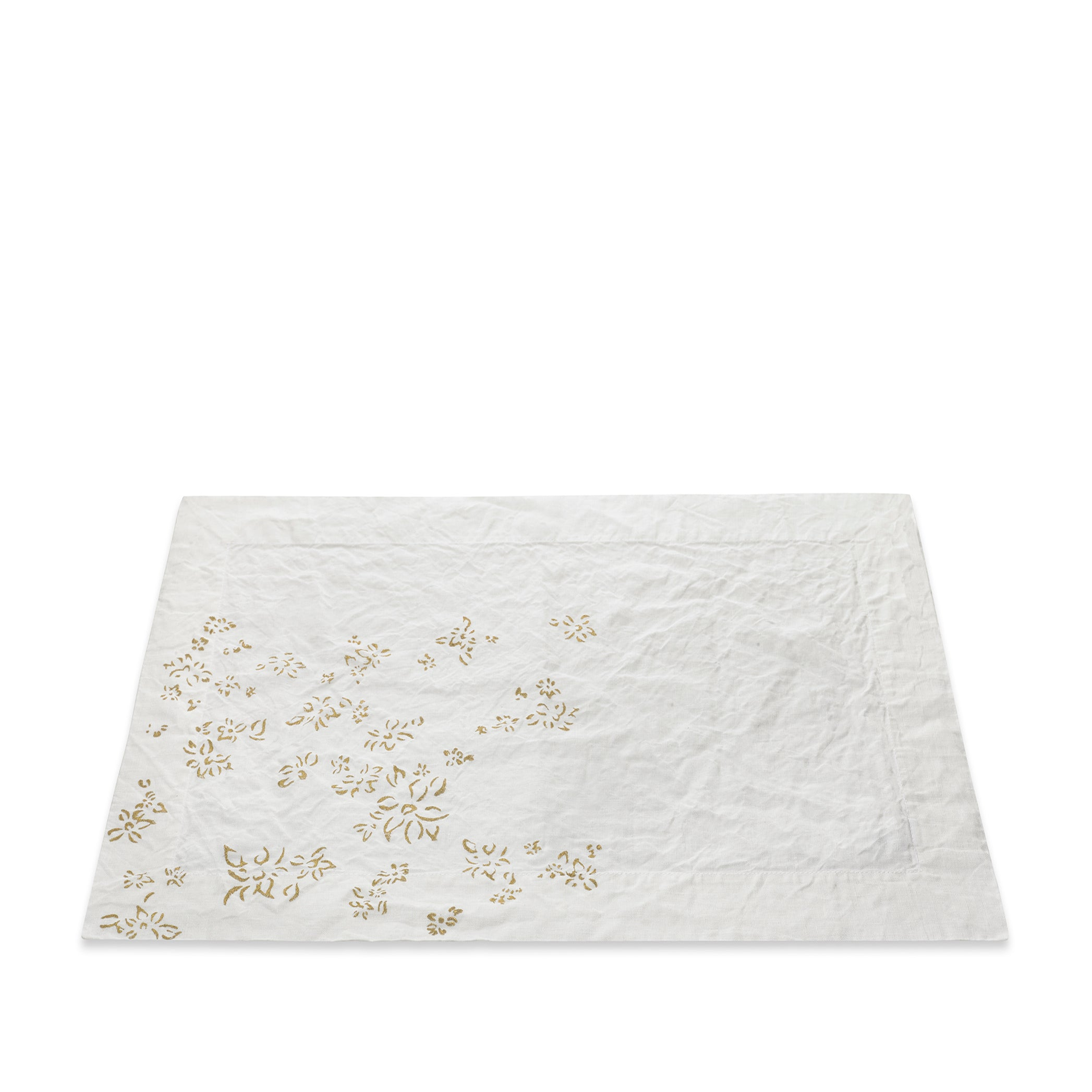 Bernadette's Hand Stamped Falling Flower Linen Placemat in Gold