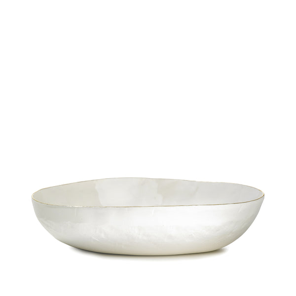 S&B Handmade 23cm Porcelain Soup Bowl with Gold Rim