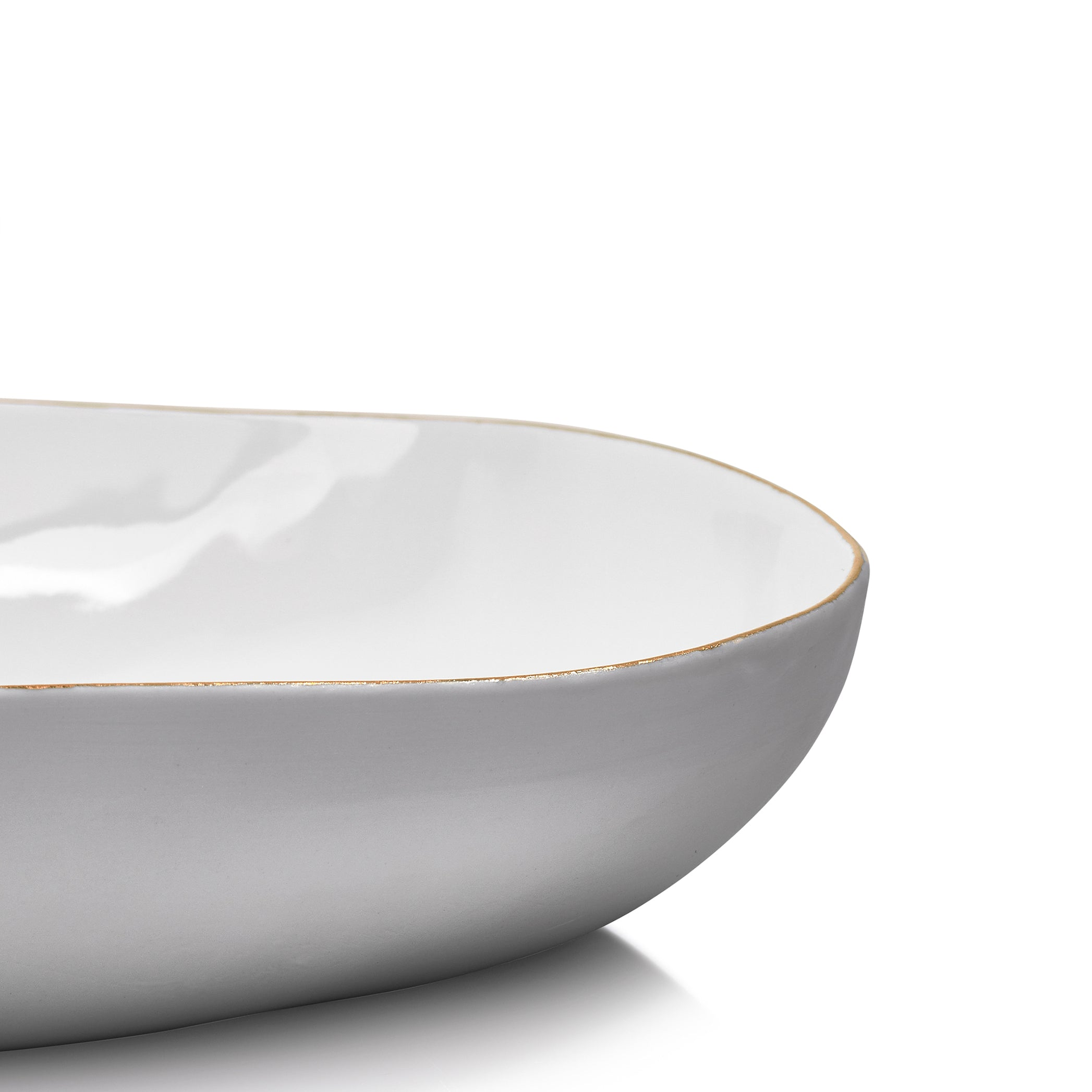 S&B Handmade 35cm Porcelain Salad Bowl with Gold Rim