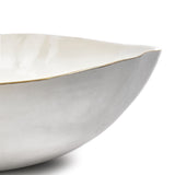S&B Handmade 43cm Porcelain Extra Large Salad Bowl with Gold Rim