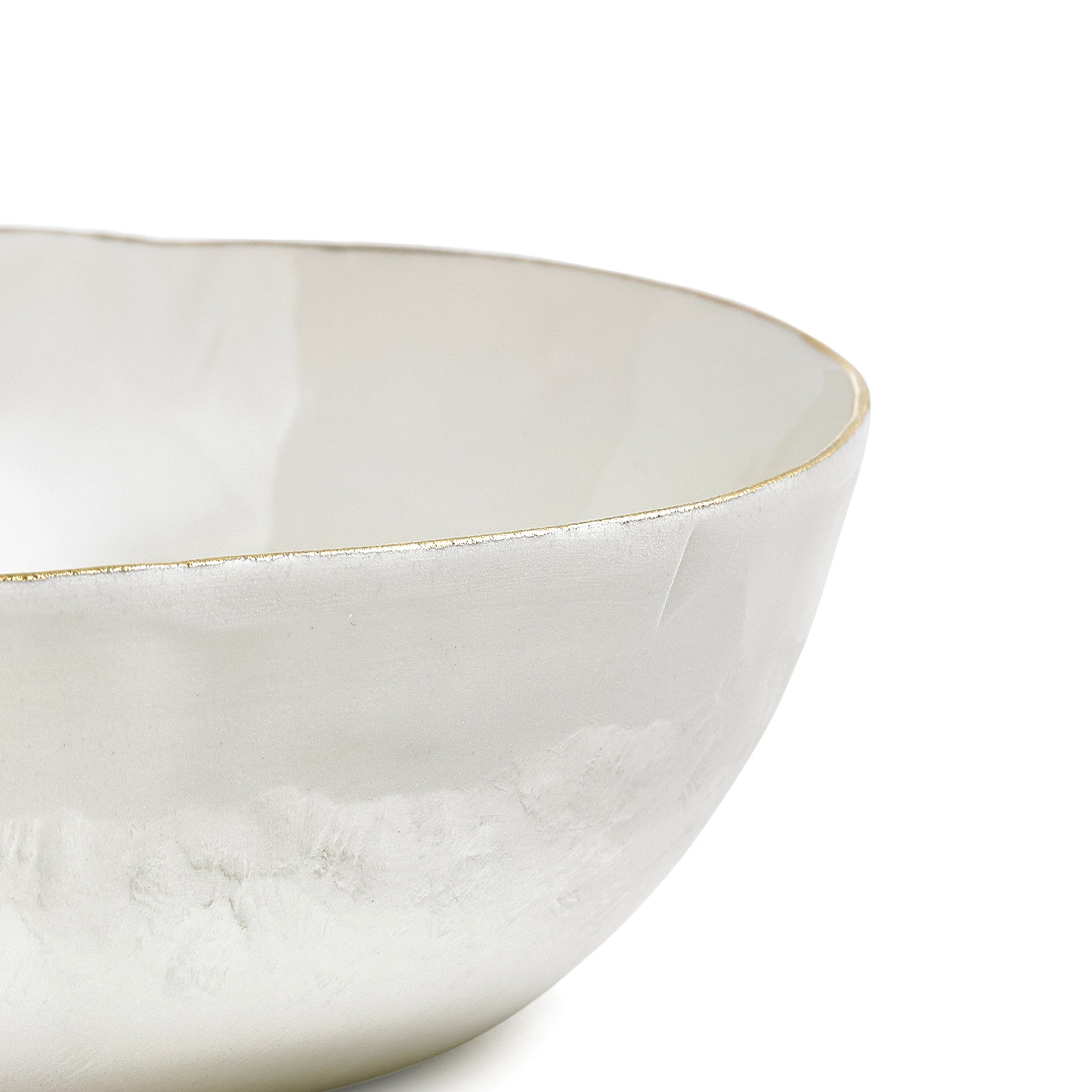 S&B Handmade 30cm Porcelain Medium Salad Bowl with Gold Rim