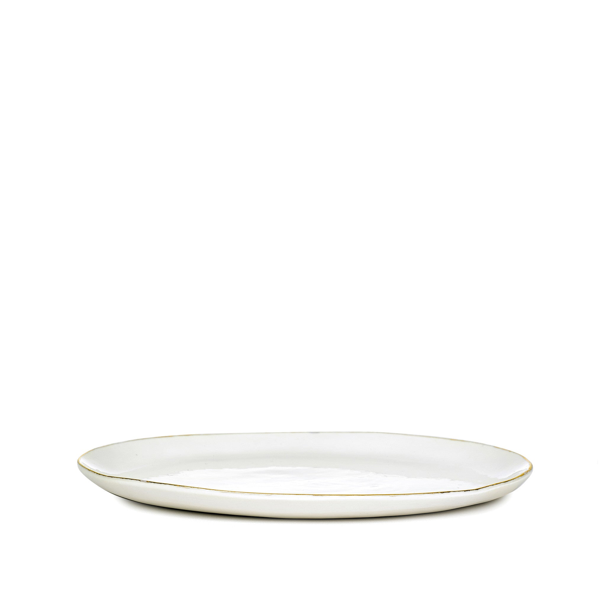 S&B Handmade 20cm Porcelain Side Plate with Gold Rim