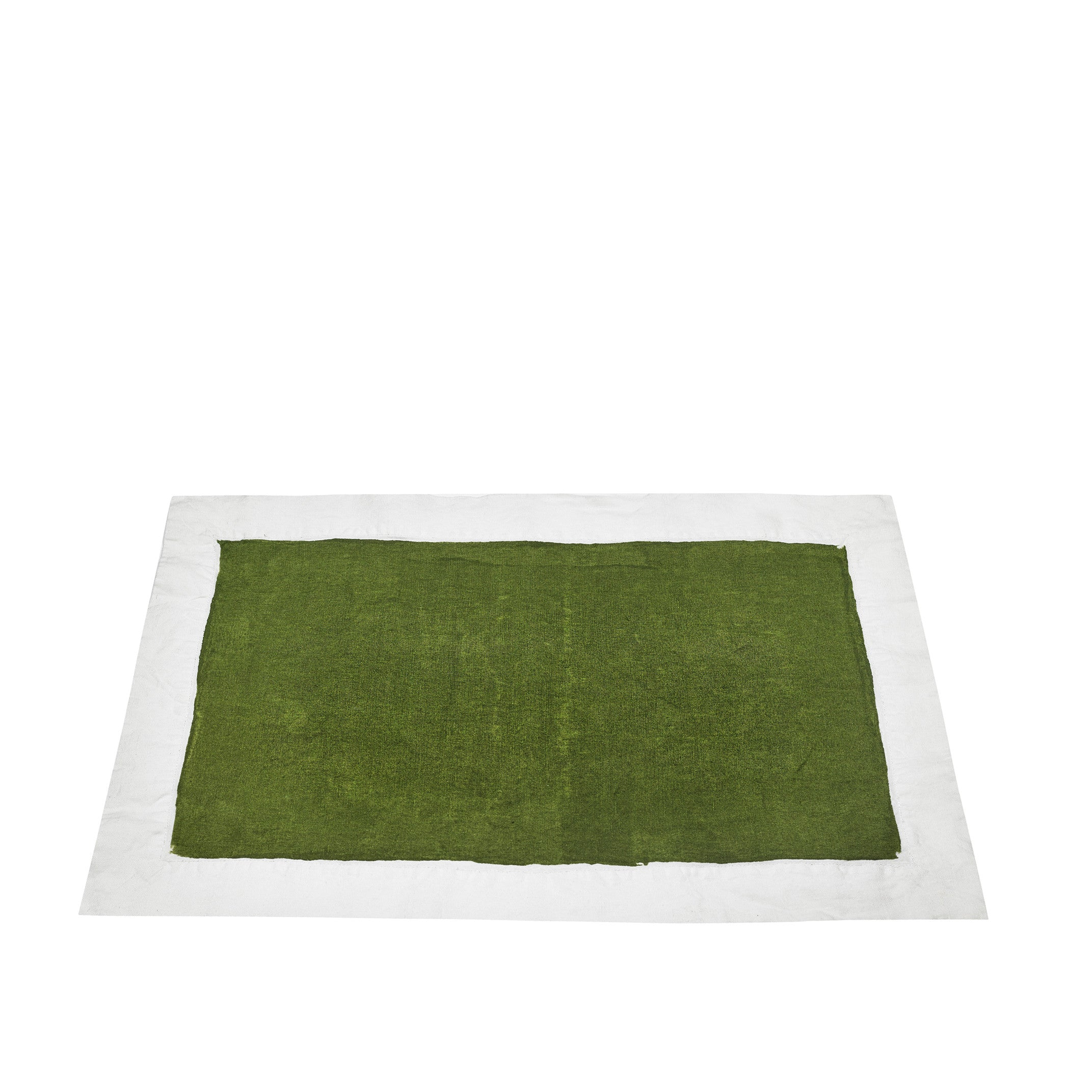 Hand Painted Full Field Linen Placemat in Avocado Green