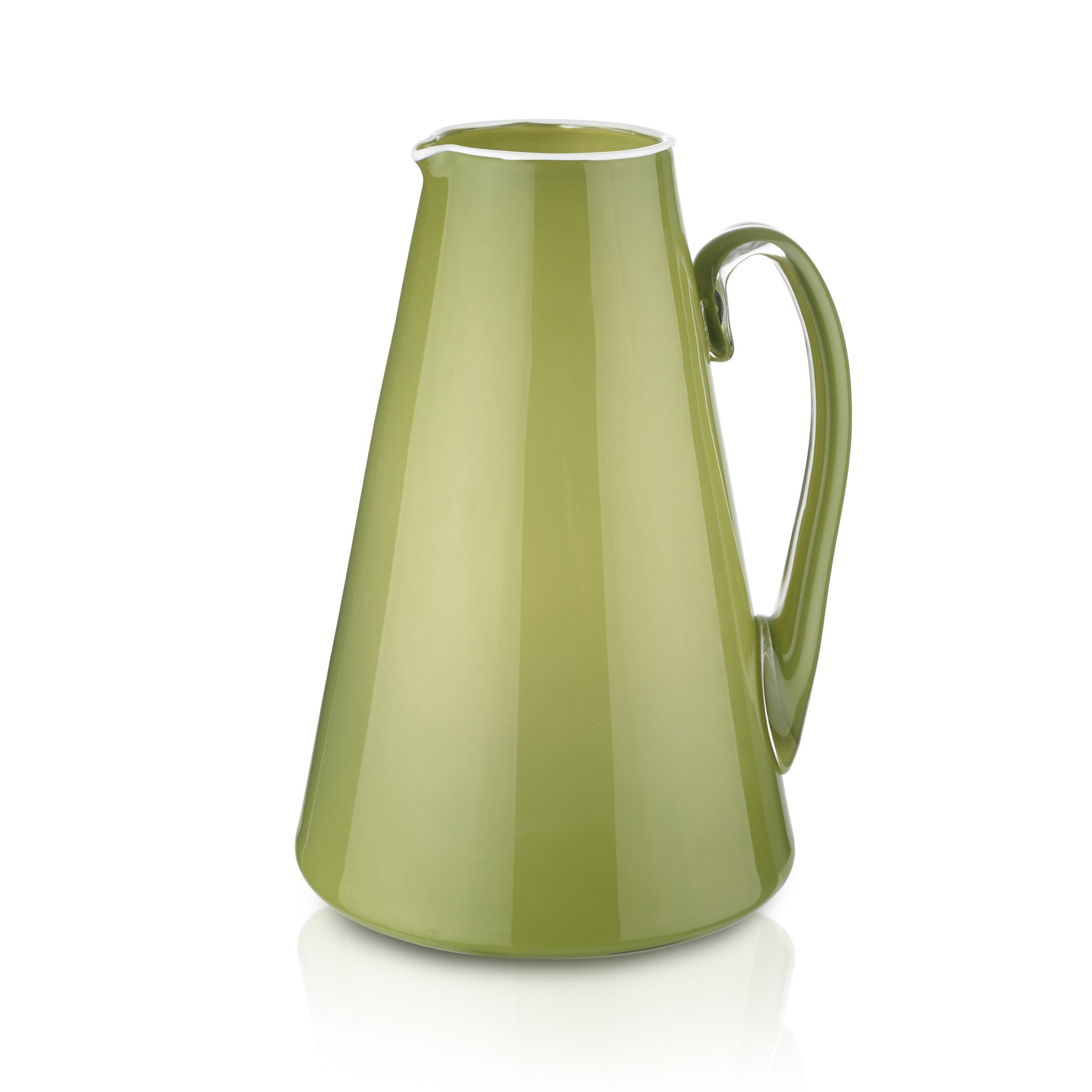 Handblown Glass Bumba Jug in Apple Green