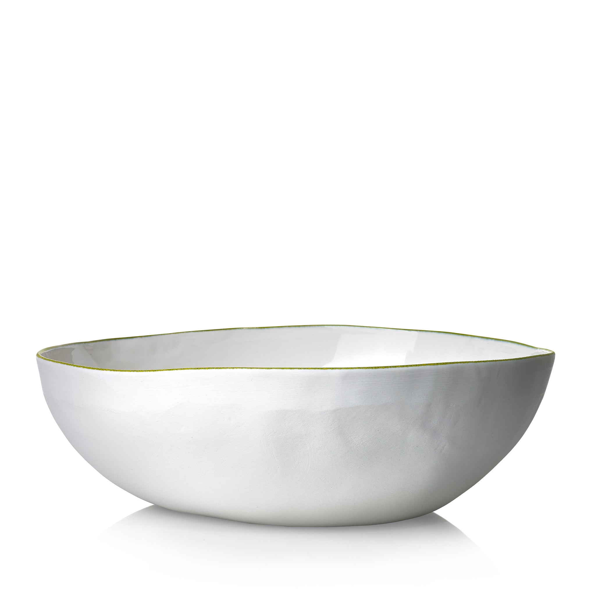 S&B Handmade 30cm Porcelain Medium Salad Bowl with Green Rim