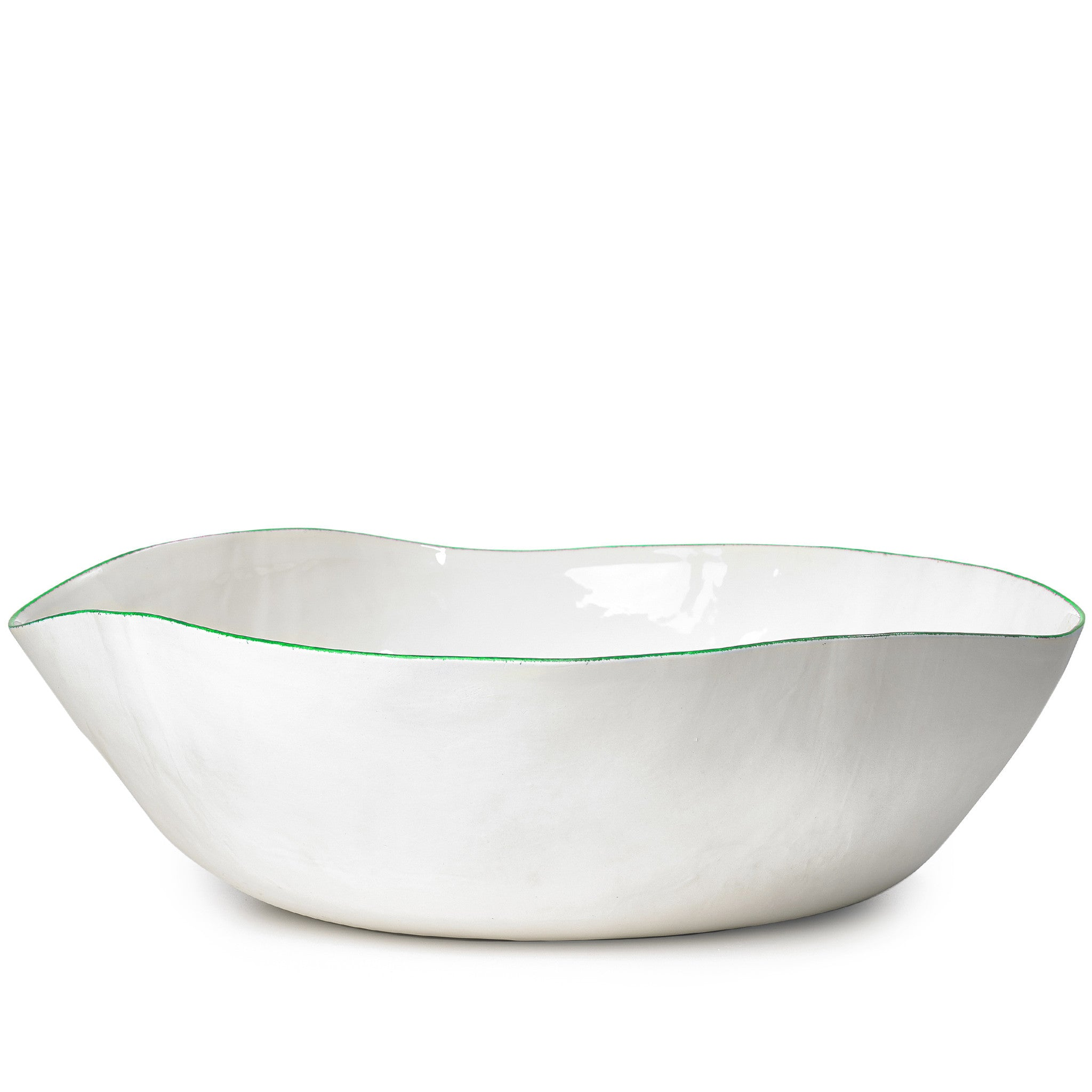 S&B Handmade 43cm Porcelain Extra Large Salad Bowl with Green Rim