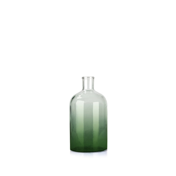 Recycled Small Green Glass Bottle