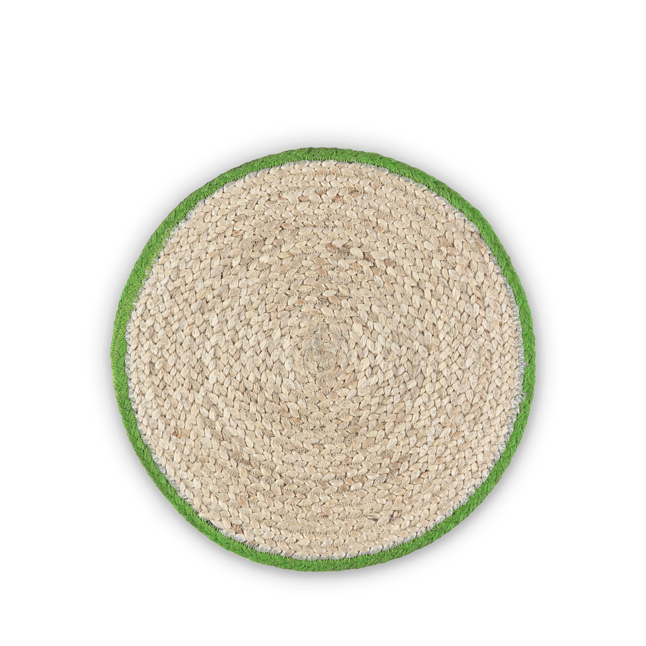 Jute Placemats with Green Border in Basket, Set of Six