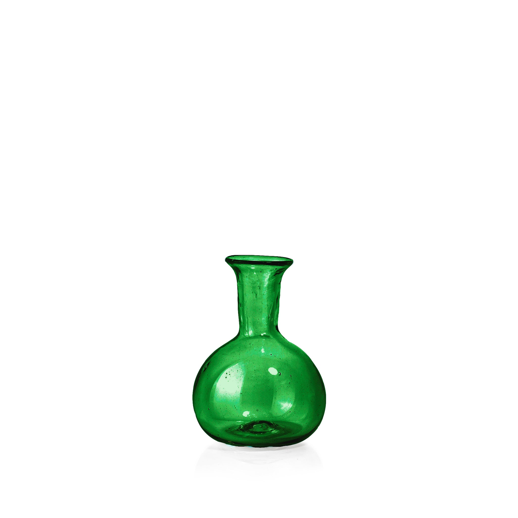 Handblown Small Round Bud Vase in Green
