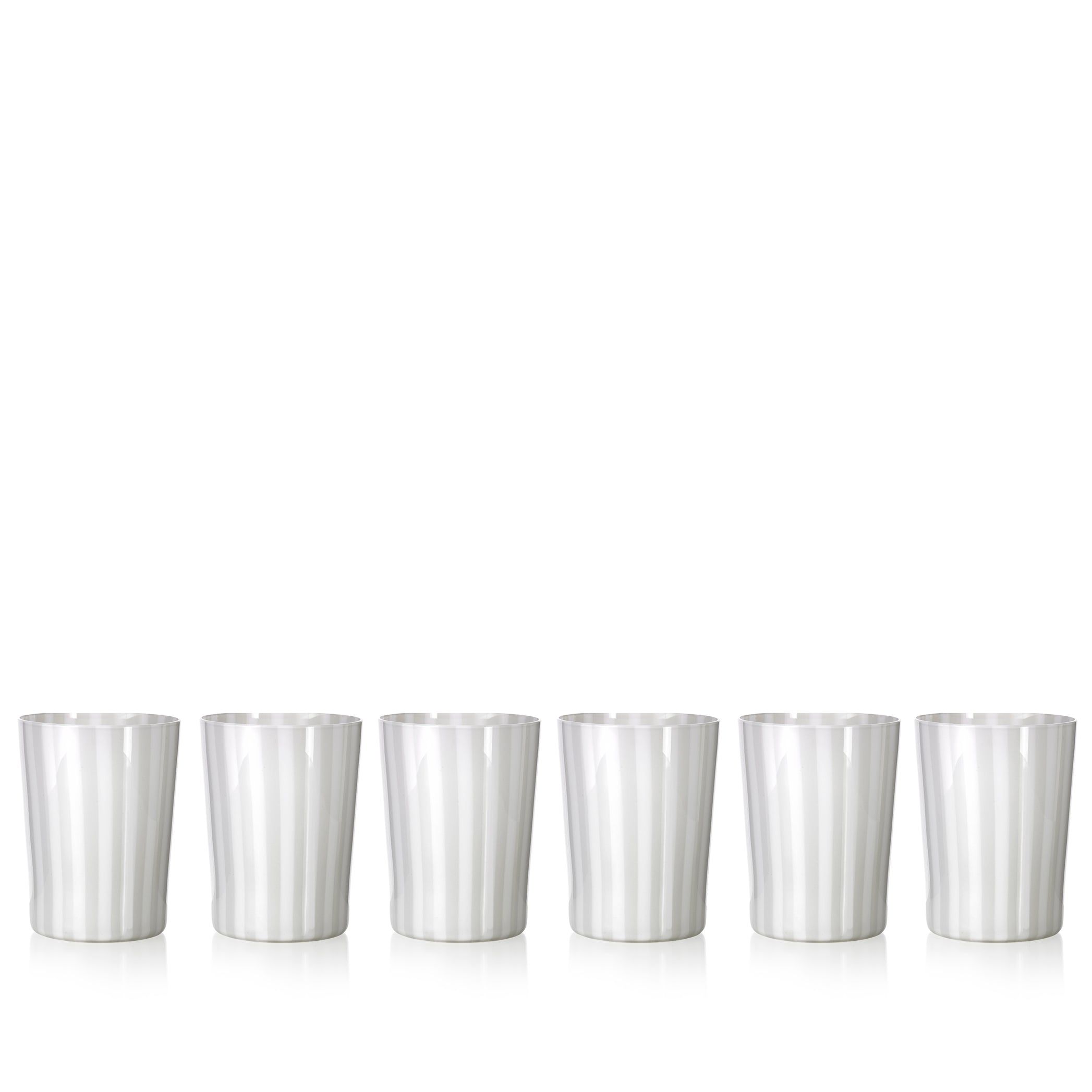 Set of Six Handblown 'Pastelli' Glass Tumblers, Designed by LPWK in Grey and White Stripe