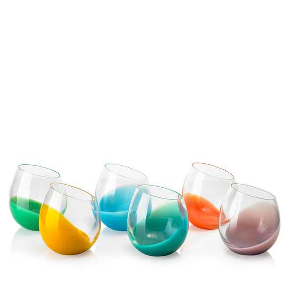 Set of Six Handblown 'Fila' Glass Tumblers, Designed by Karim Rashid in Multicolours