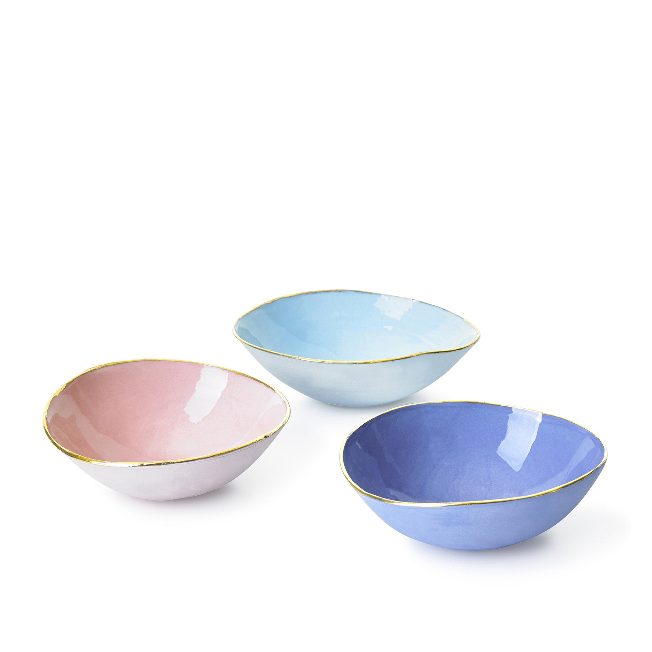 Full Painted Light Blue Ceramic Bowl with Gold Rim, 10cm