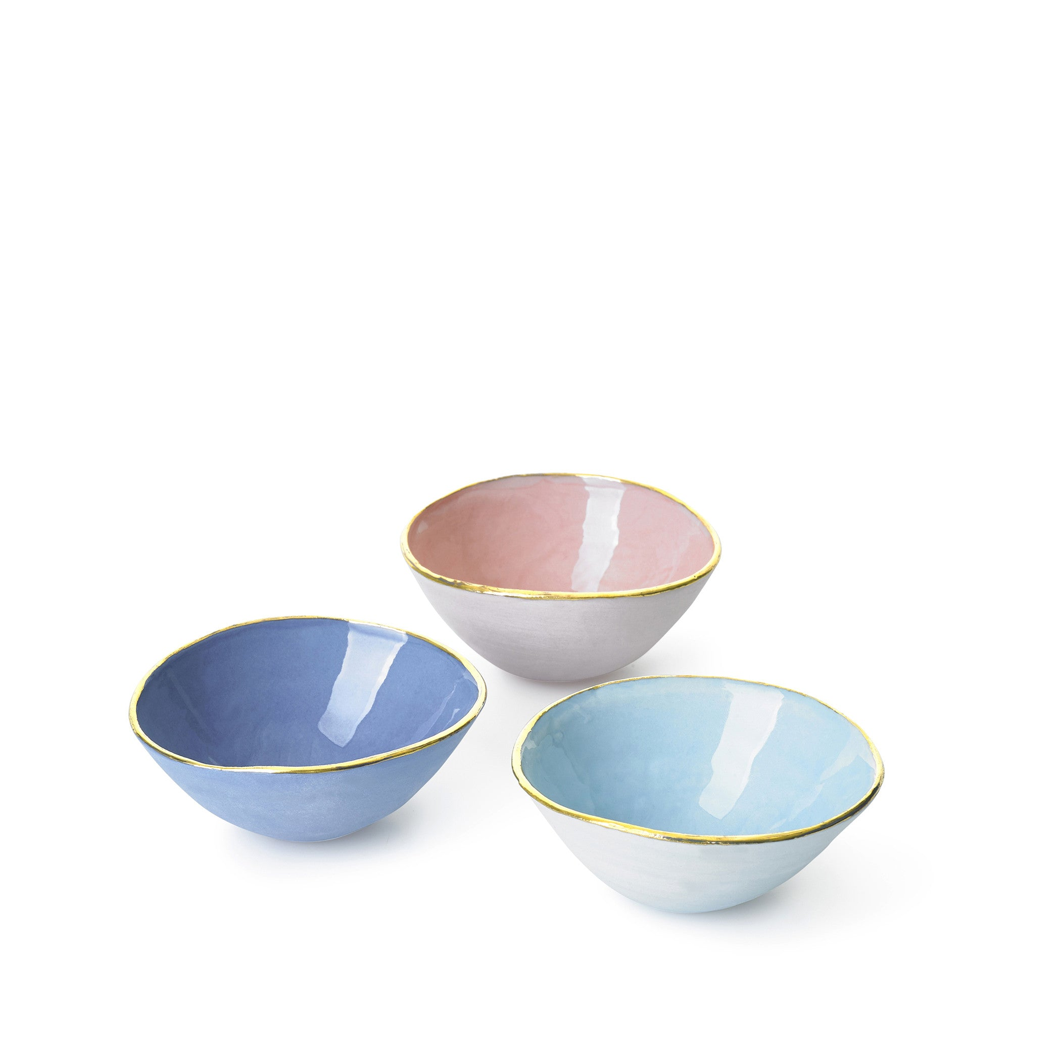 Full Painted Pink Ceramic Bowl with Gold Rim, 6cm