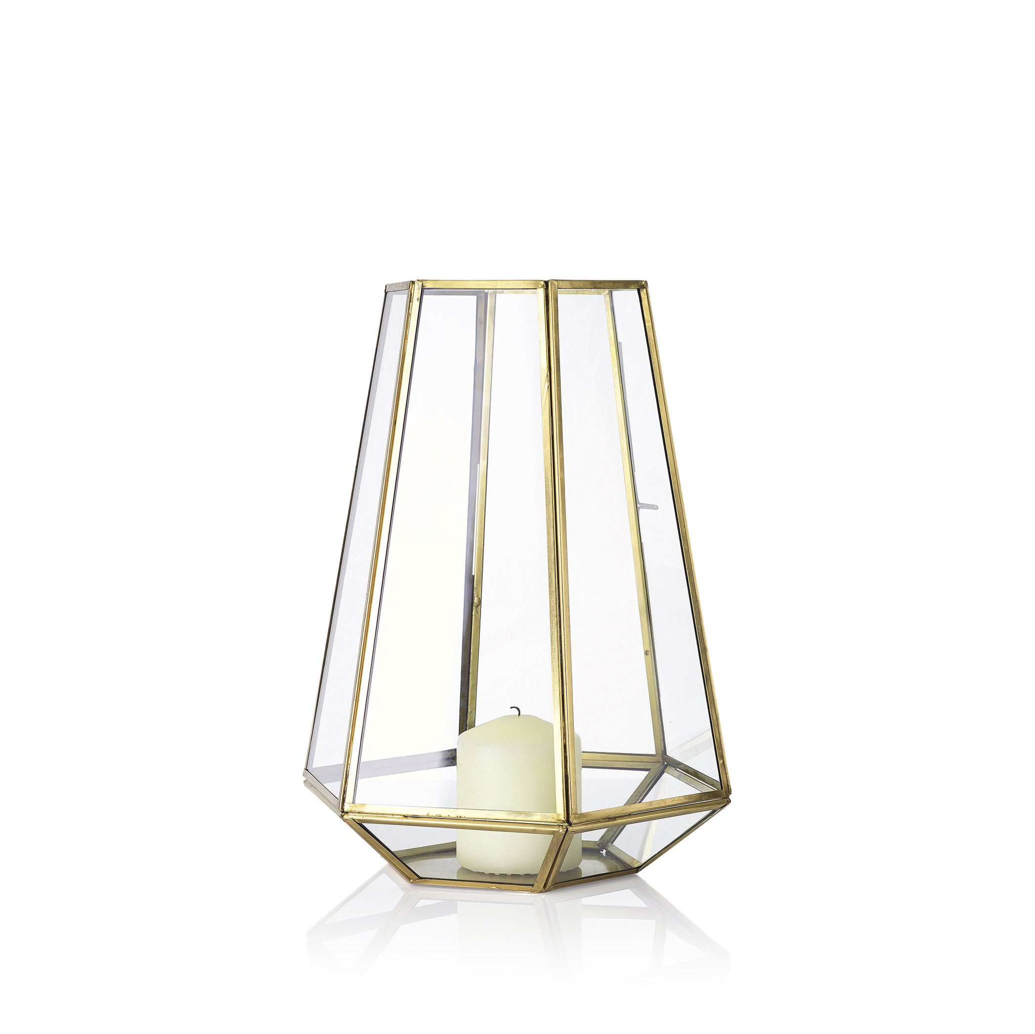 Framed Hexagonal Lantern in Brass, Large