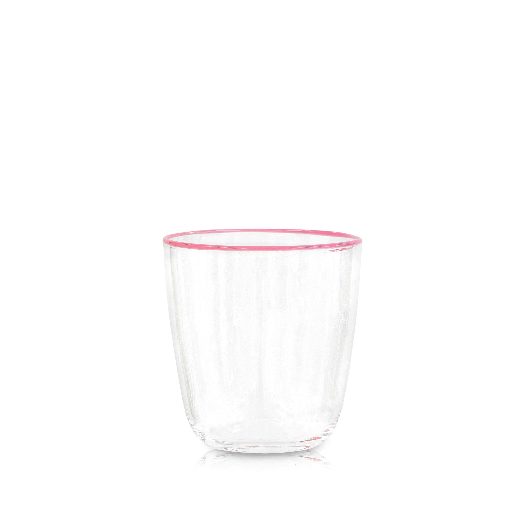 Handblown Clear Bumba Glass with Rose Pink Rim
